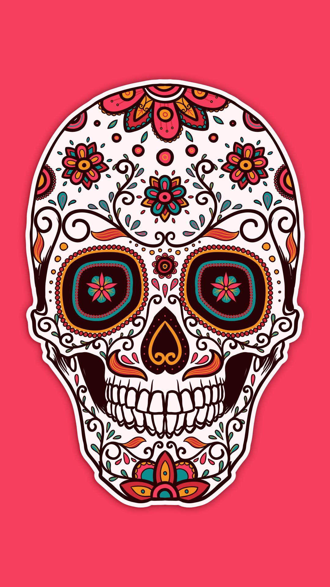 Pink Sugar Skull Wallpaper
