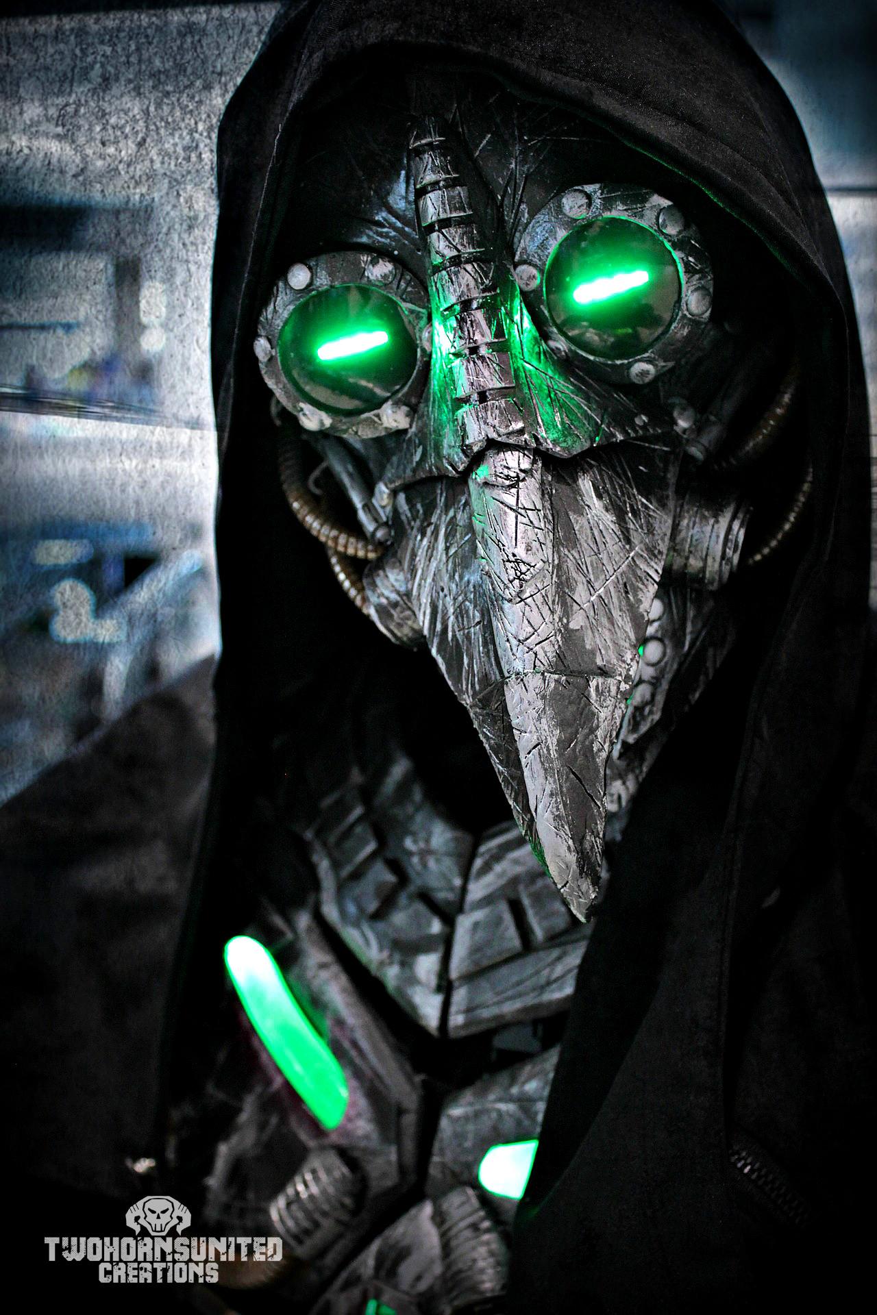 Plague knight – LED cyberpunk plague doctor mask by  TwoHornsUnited.deviantart.com on @