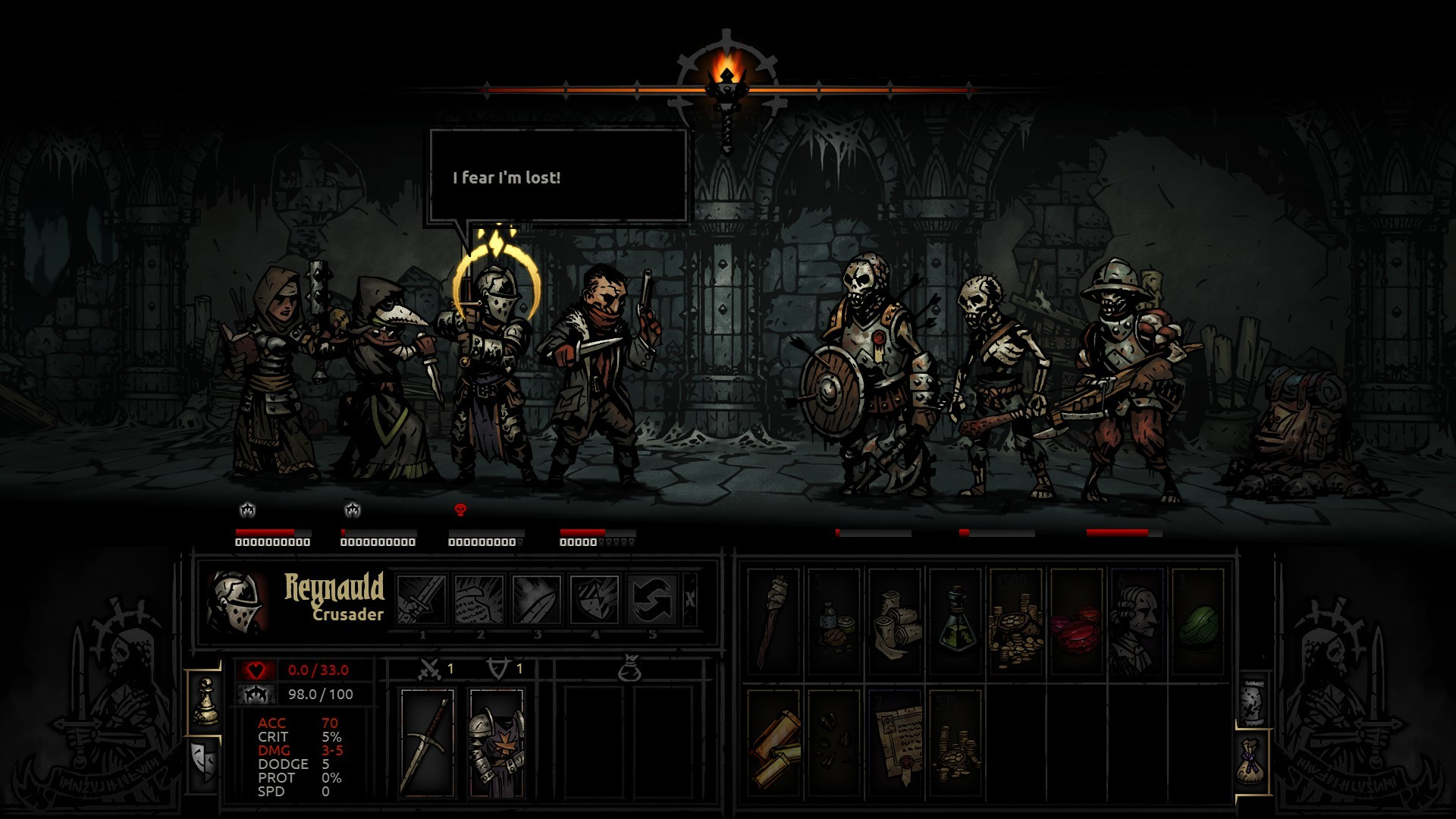 My first dungeon. Shortly after, my Plague Doctor died. Clearly I'm off to  a good start.