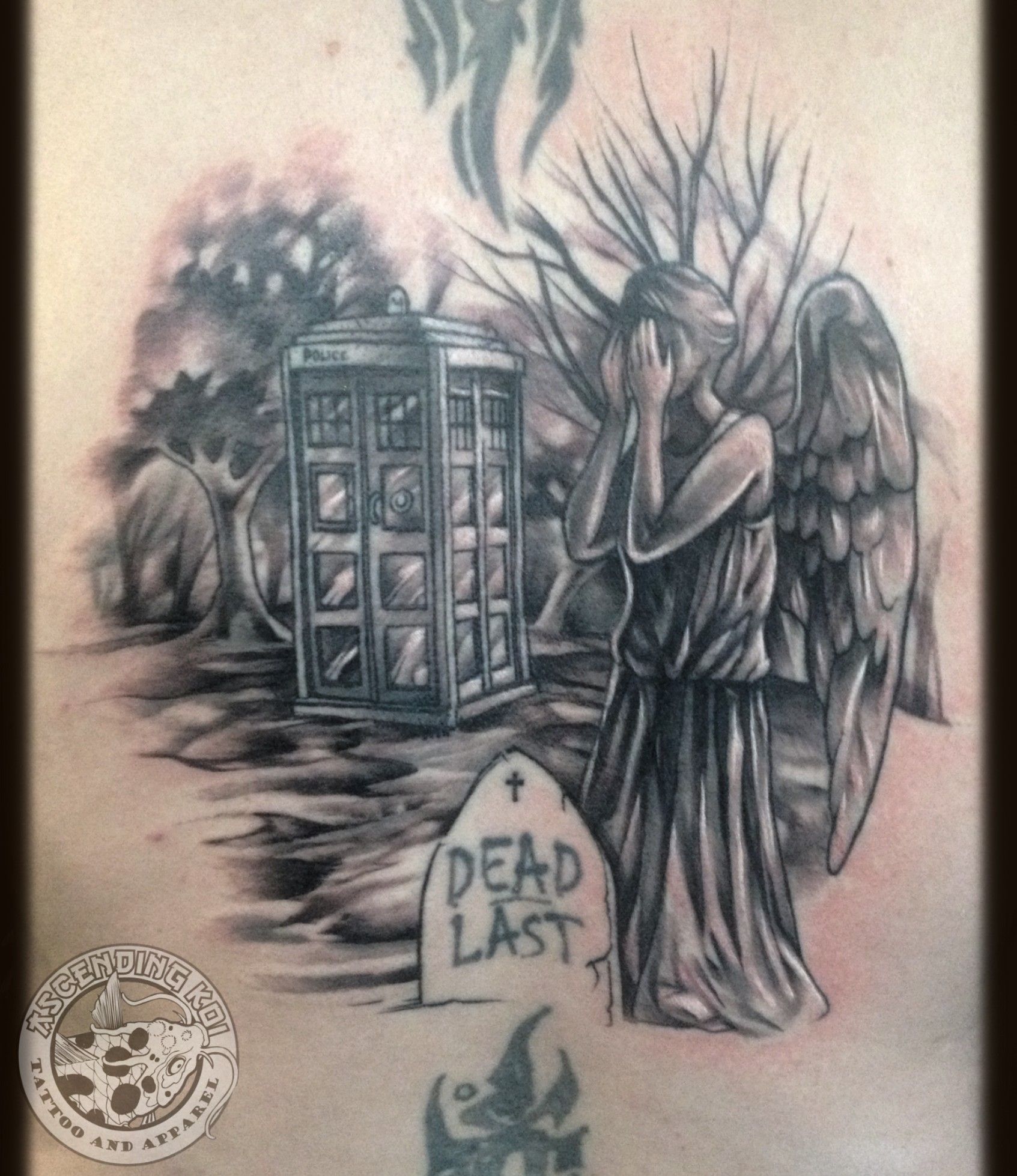 'Doctor Who' back piece by Trevor Jameus, featuring a Weeping Angel and an
