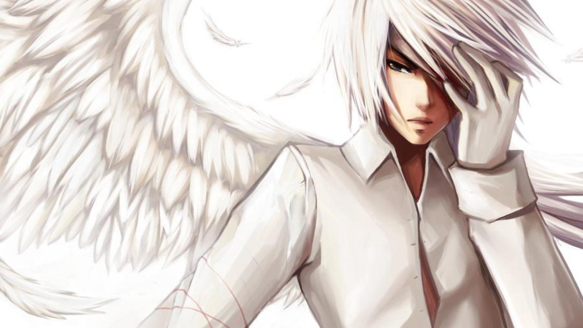 white anime boy angel wallpaper