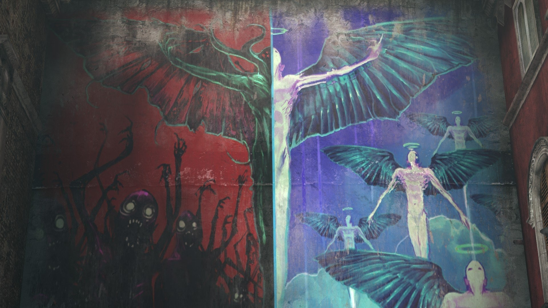 Angels Demons Heaven Amp Hell Graffiti Walls Wings Halo DmC Devil May Cry