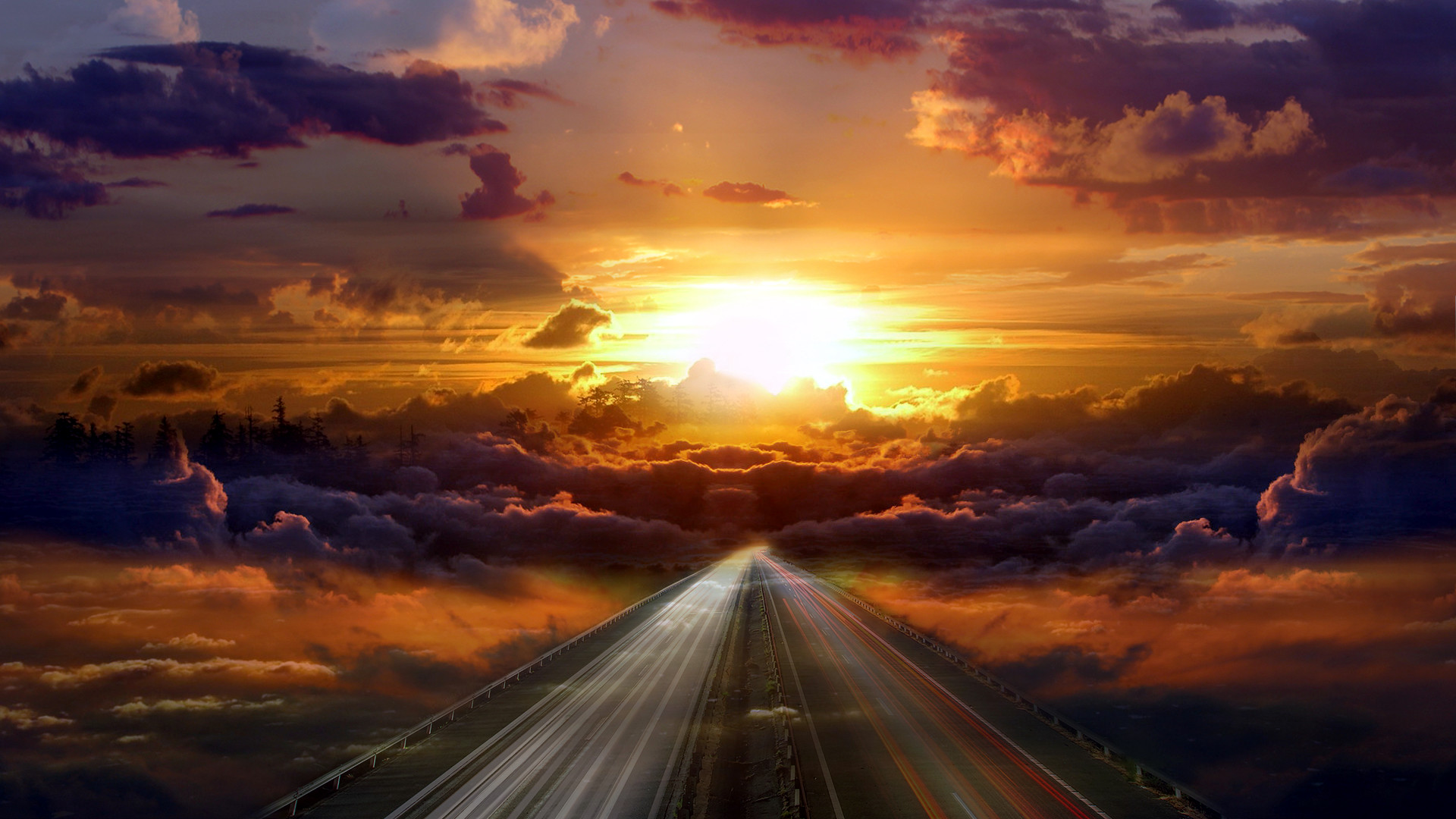 Highway surrounded by clouds wallpaper #19279