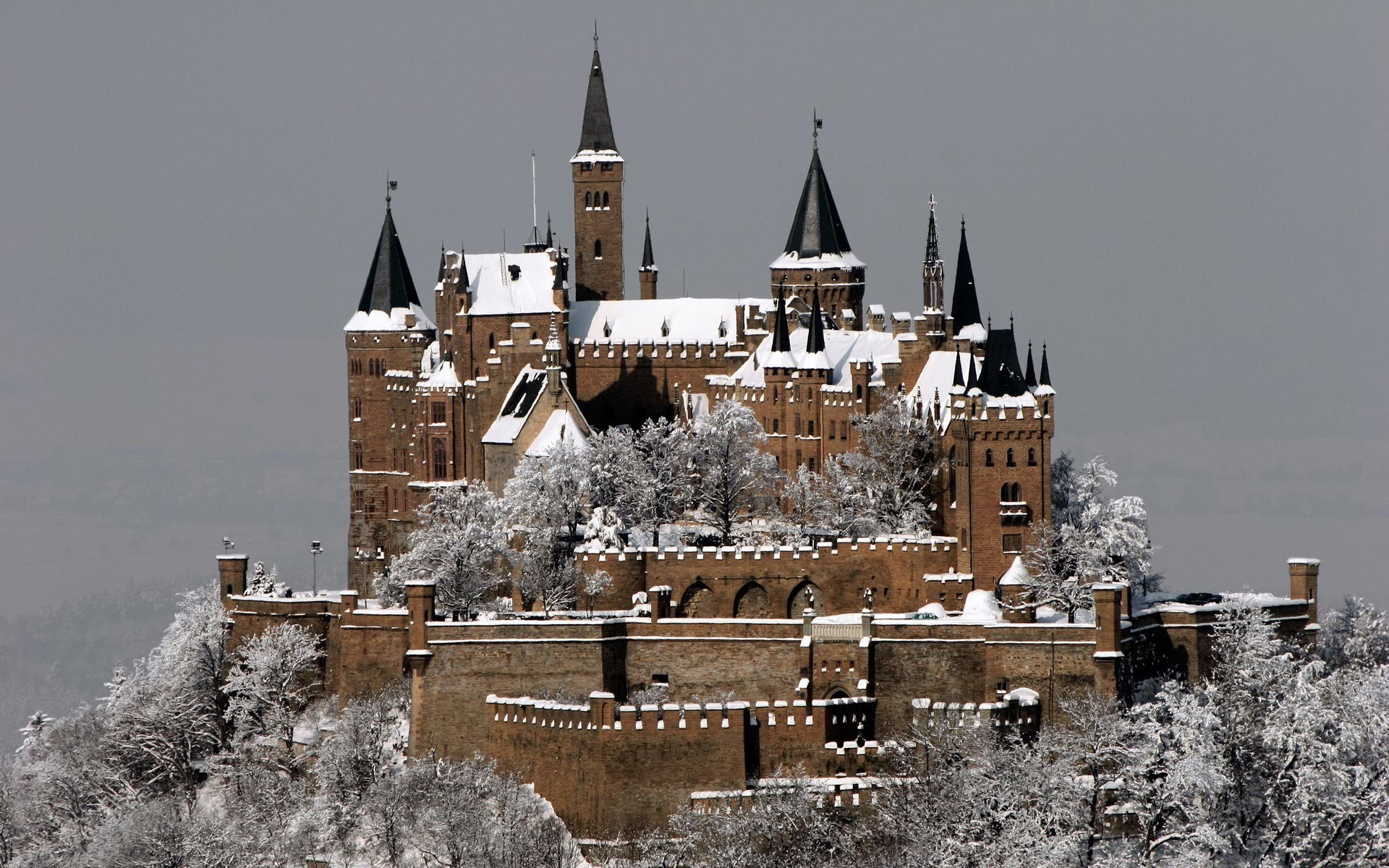 Architecture Buildings Castles Germany Hohenzollern Medieval Winter