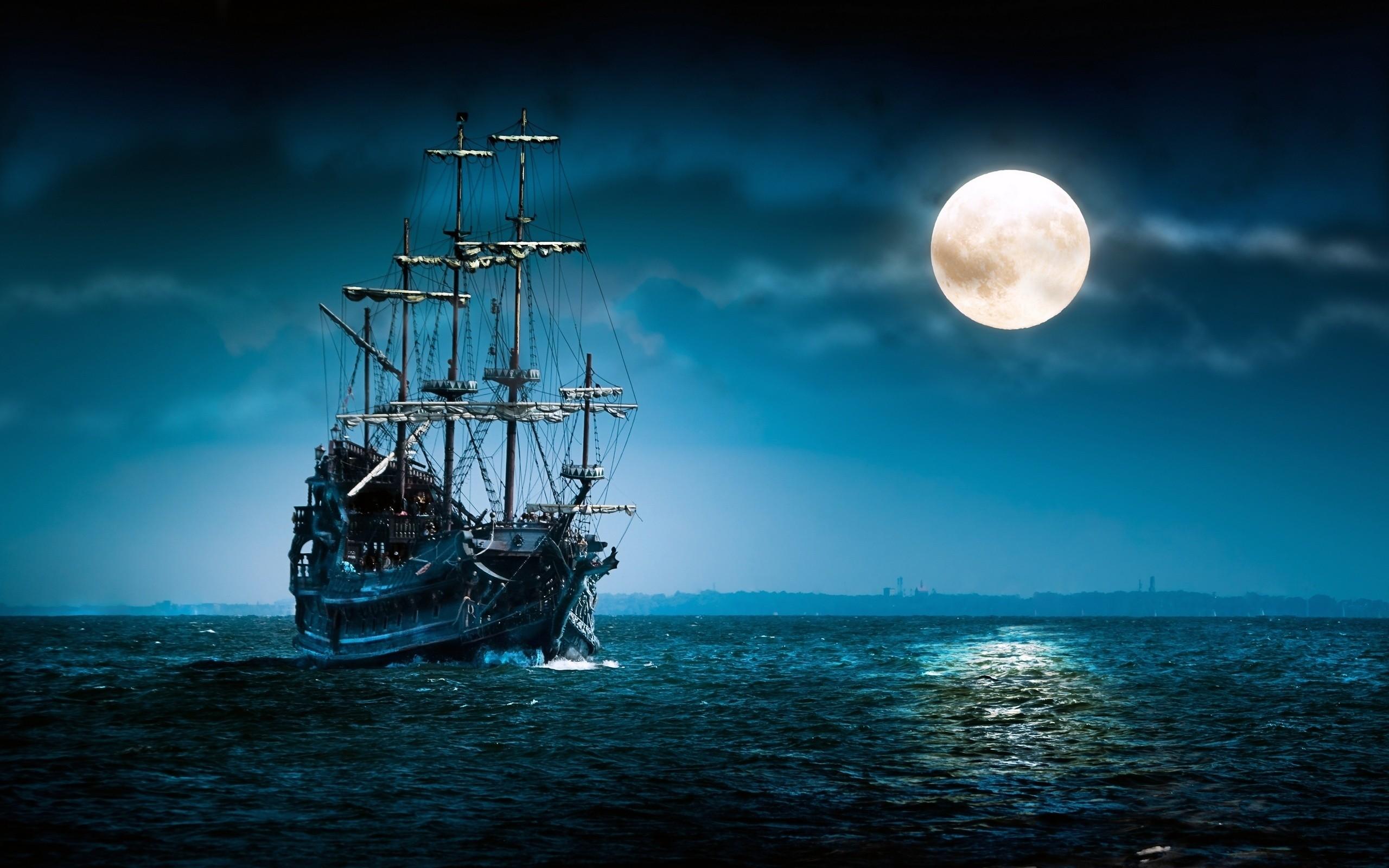 sailboat sea moon ship boat ocean night mood moon wallpaper background