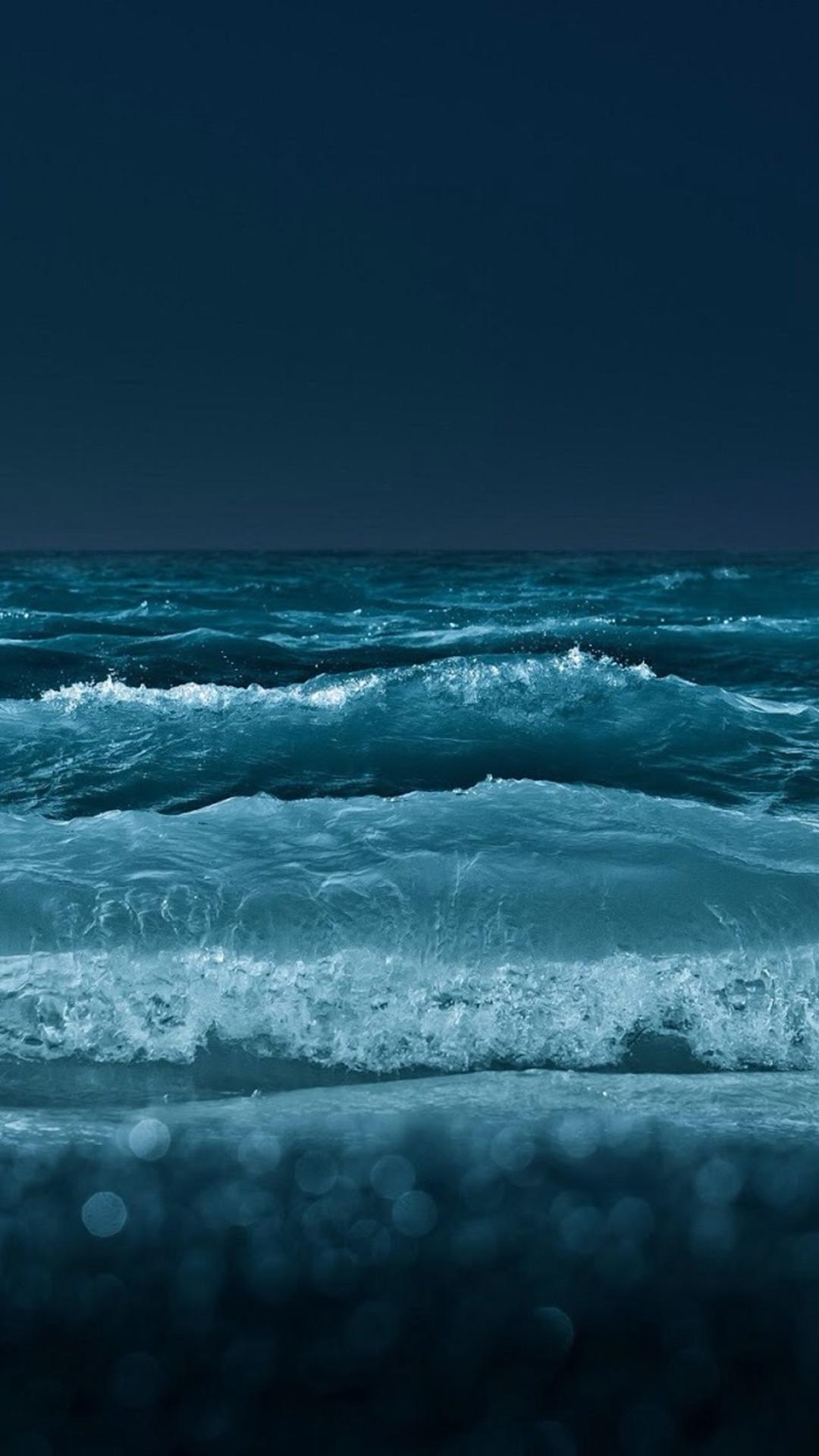 Nature Night Ocean Beach Wave Bokeh iPhone 8 wallpaper