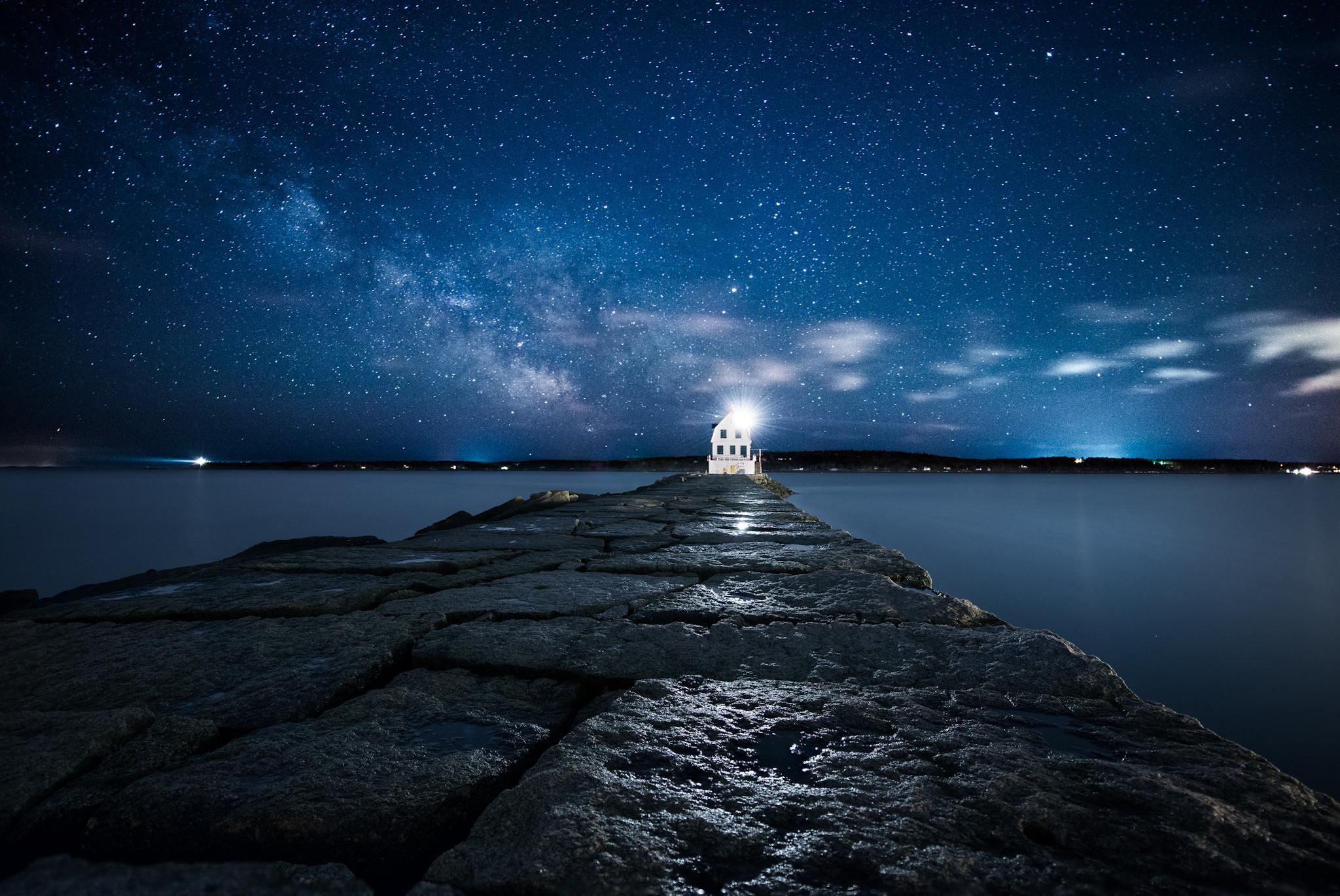 Atlantic Ocean Island Landscape Light Lighthouse Night Sky Stars USA