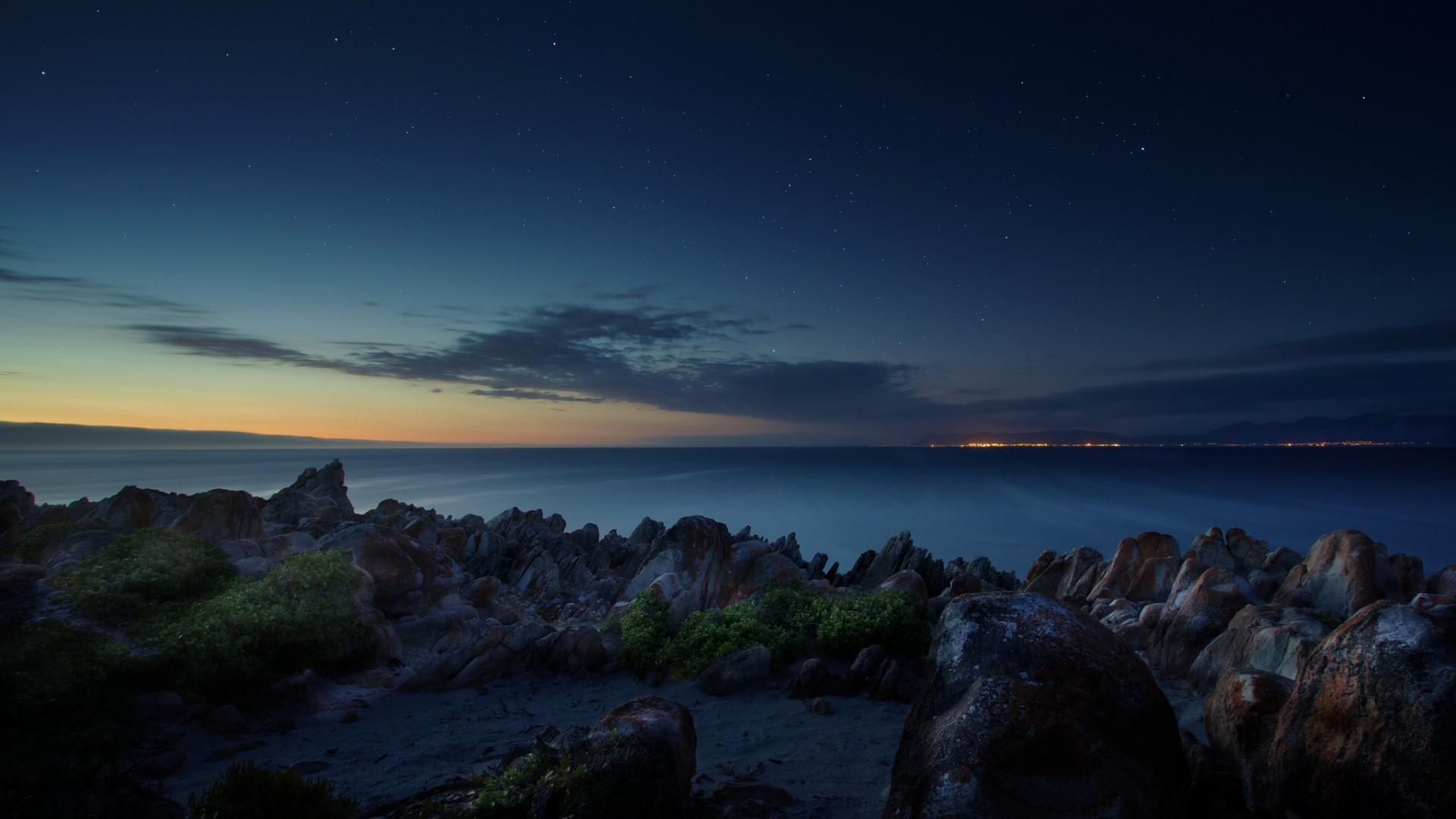 Wallpaper south africa, ocean, night, beach, stones