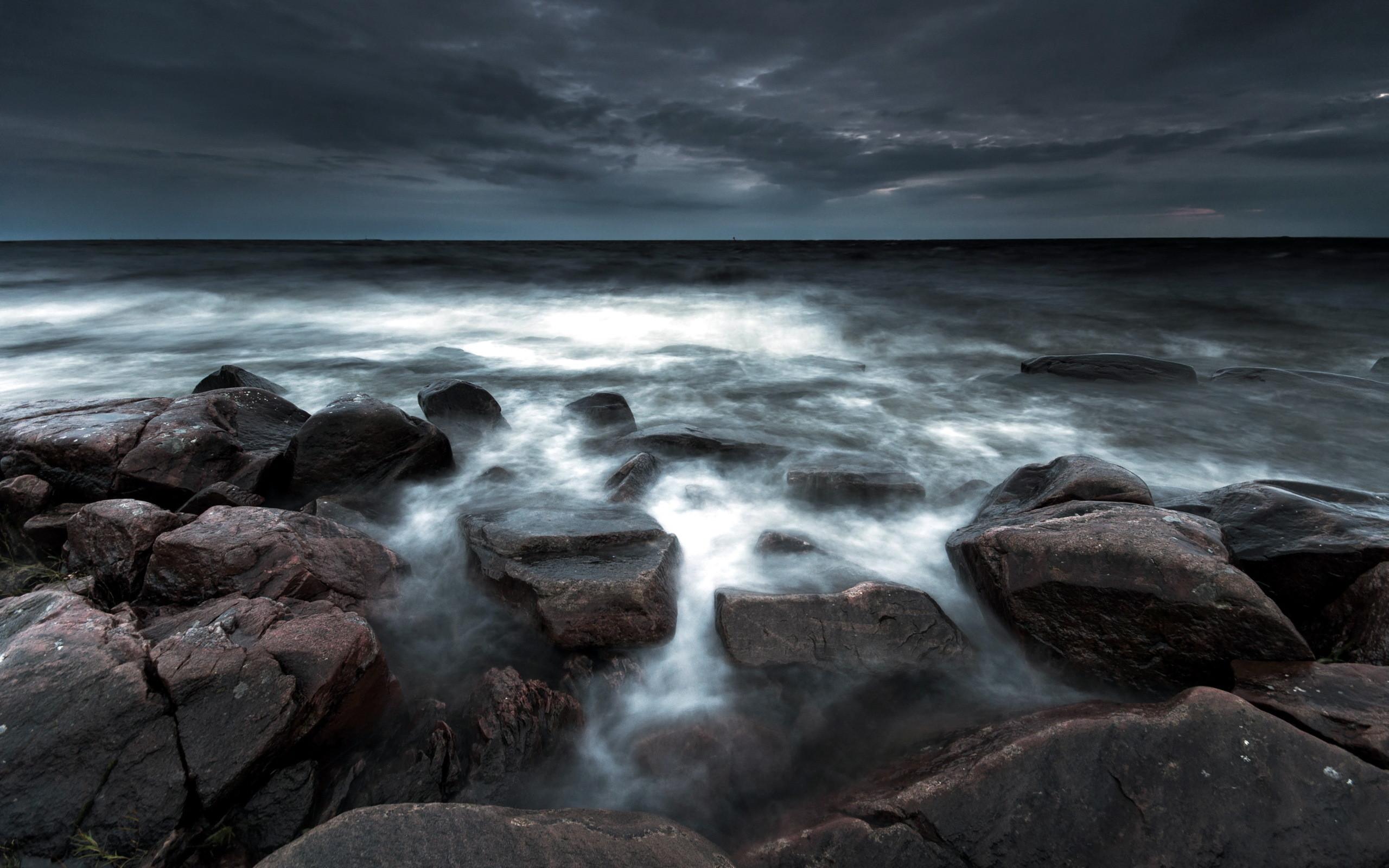 Sea aeYaeY night rocks landscape beaches ocean sky wallpaper      46777   WallpaperUP