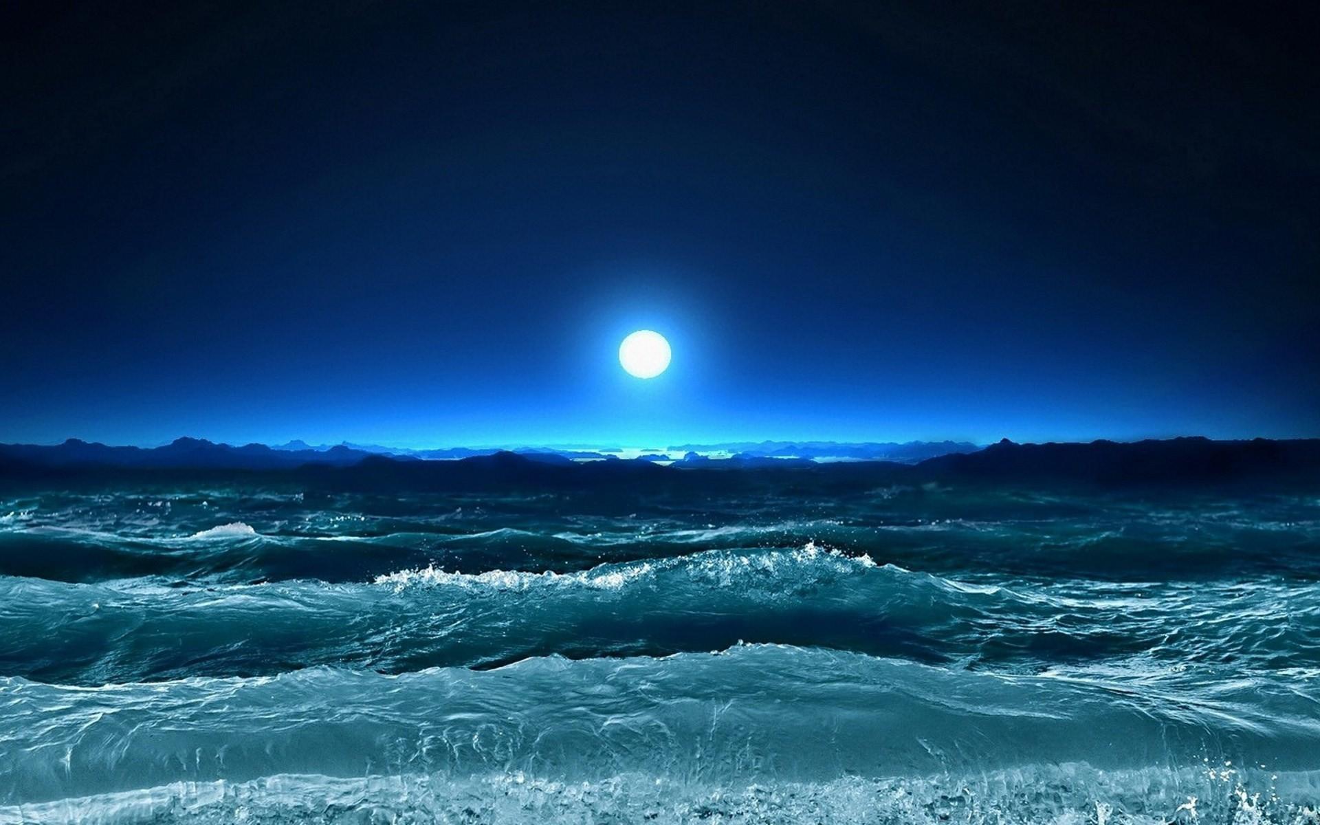 nature sea night computer desktop wallpaper hd