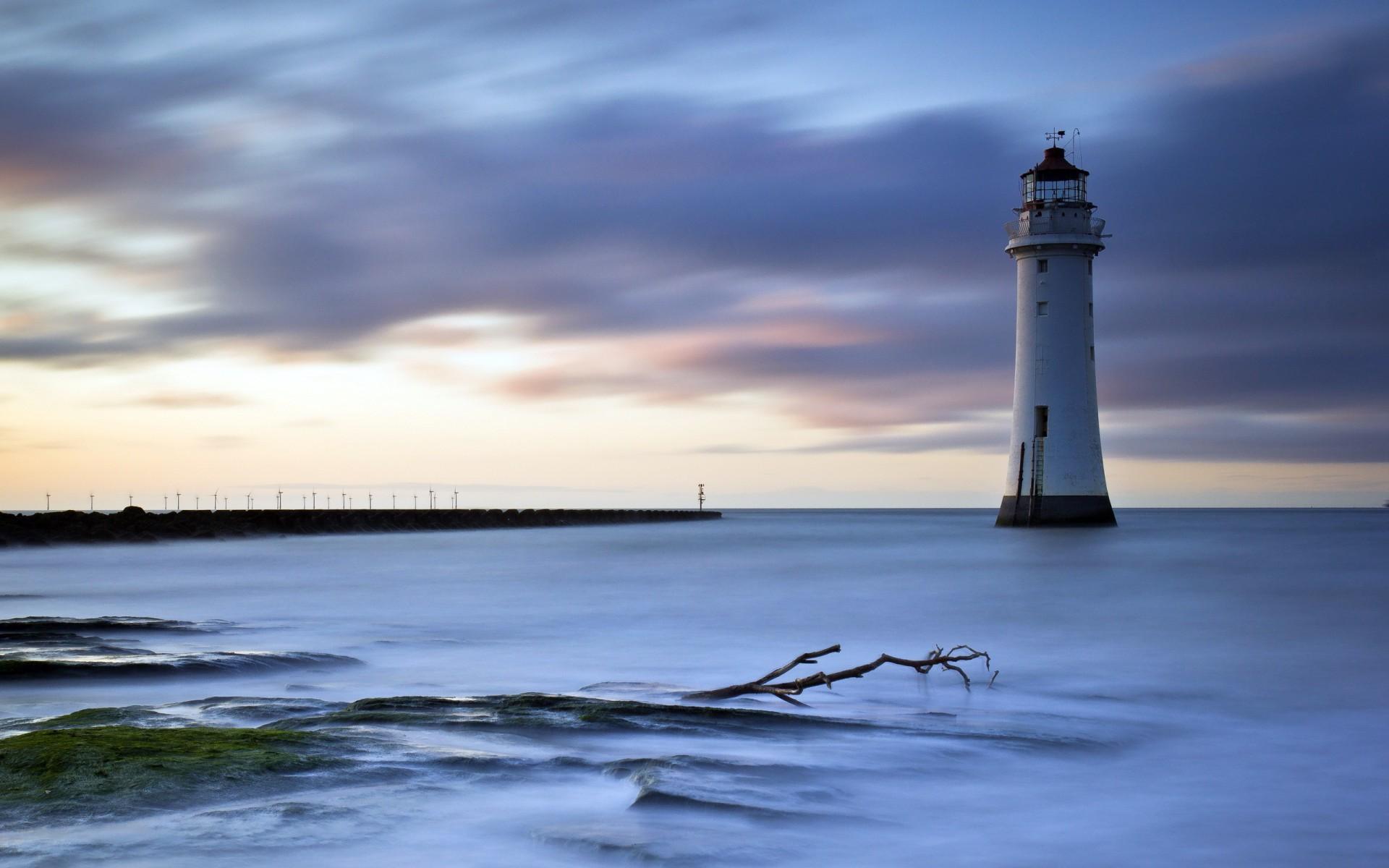Sea aeYaeY lighthouse night landscape ocean wallpaper     69558    WallpaperUP