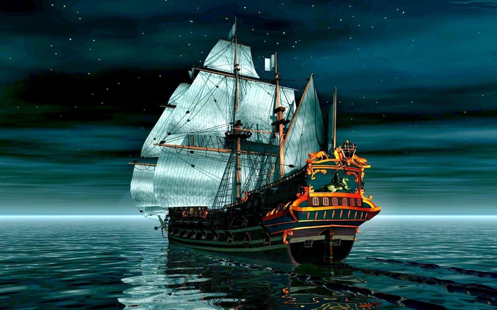 Boat night 3d ship ocean wallpaper     50141   WallpaperUP