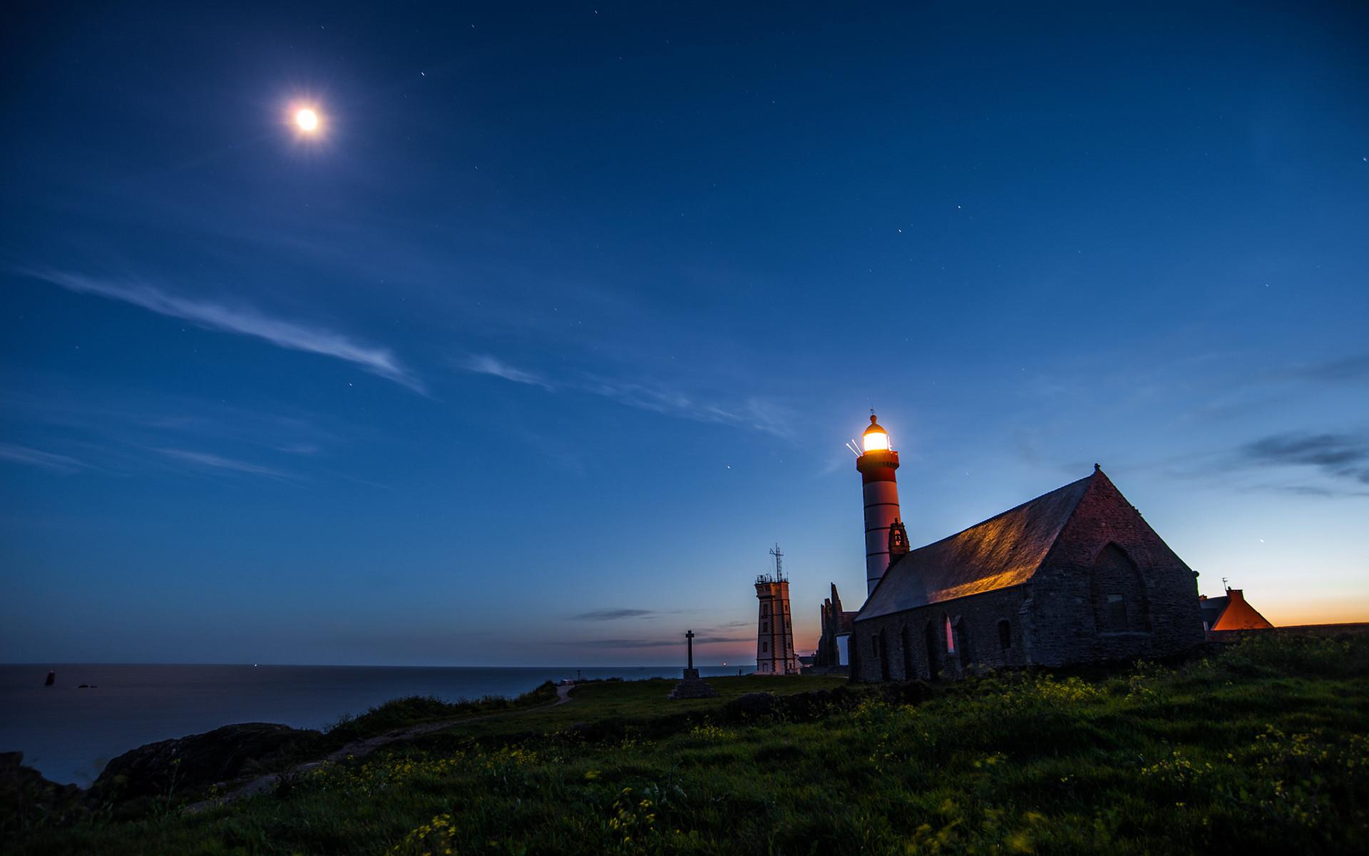 Lighthouse Ocean Night Moonlight Grass wallpaper     119729    WallpaperUP