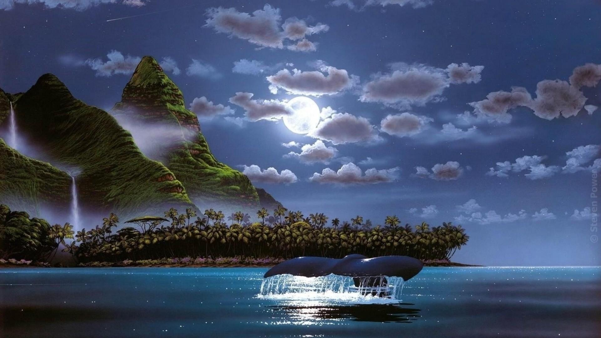Island Palms Ocean Night Whale