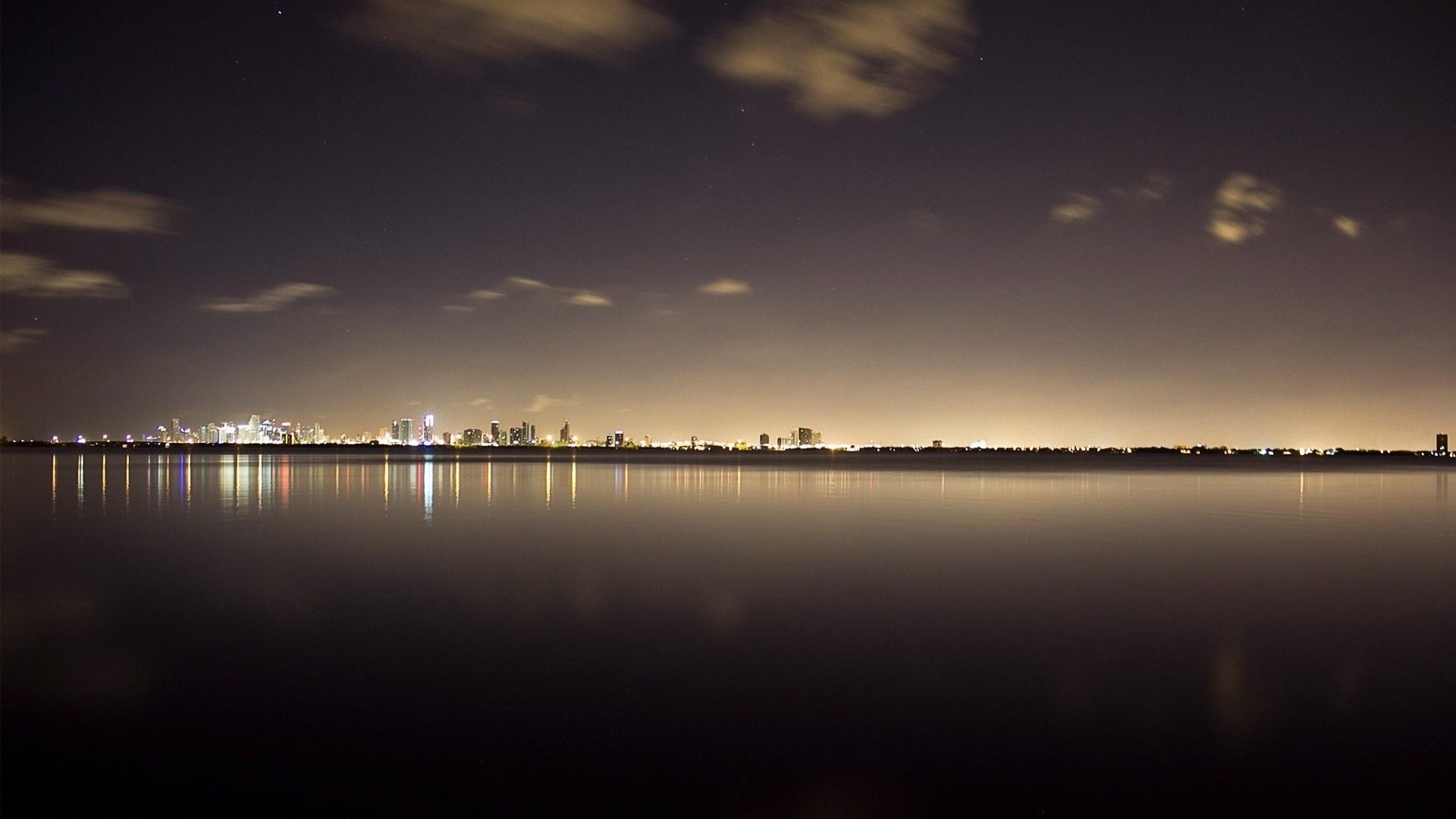 Wallpaper miami, ocean, buildings, night