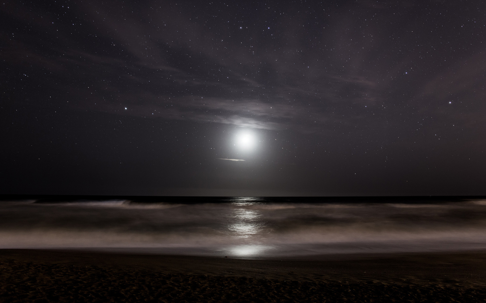 Stars Moonlight Ocean sea reflection sky waves beach night wallpaper      104223   WallpaperUP
