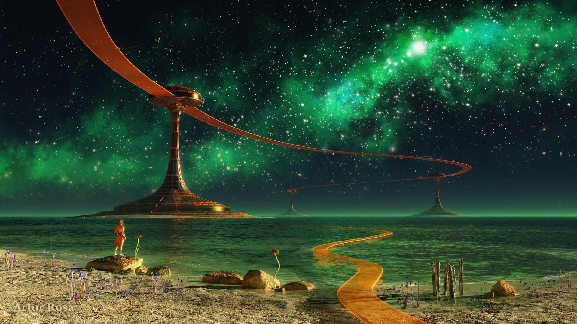 Rendering Night Landscape Colony Water Lake Sea Girl Rocks Buildings Road  Stars Fantasy Ocean HD Free
