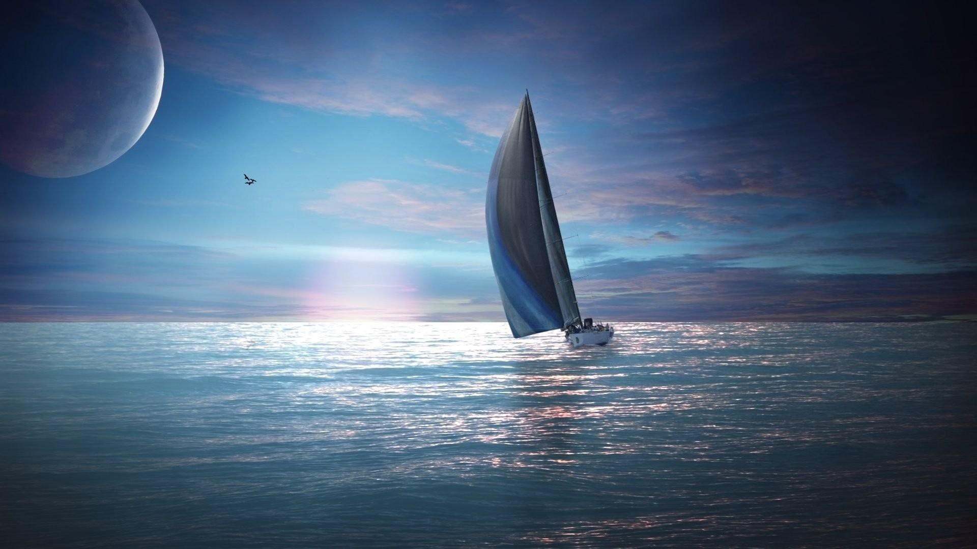 Night Landscape Ocean Moon Boat Sailings Landscapes