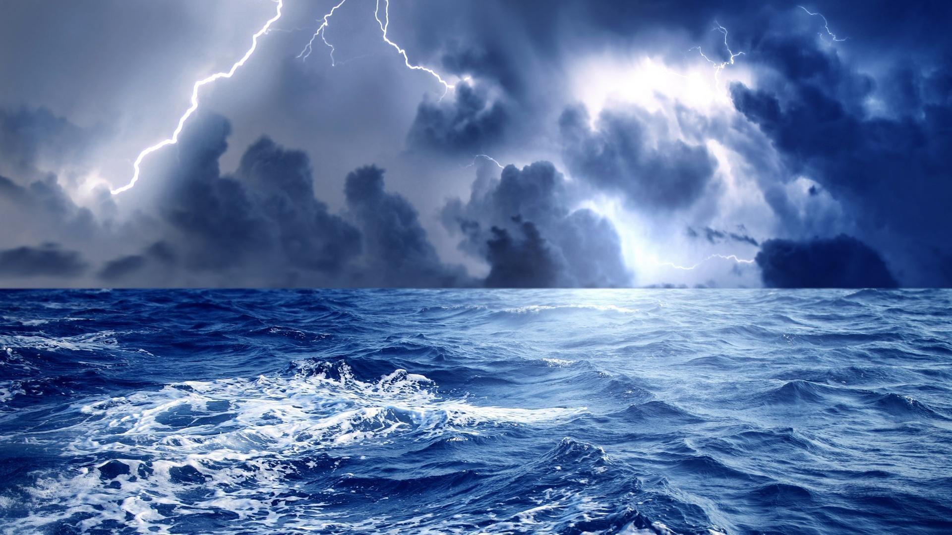 Wallpaper lightning, night, clouds, lake, thunderstorm desktop 1920×1080  Thunderstorm Desktop