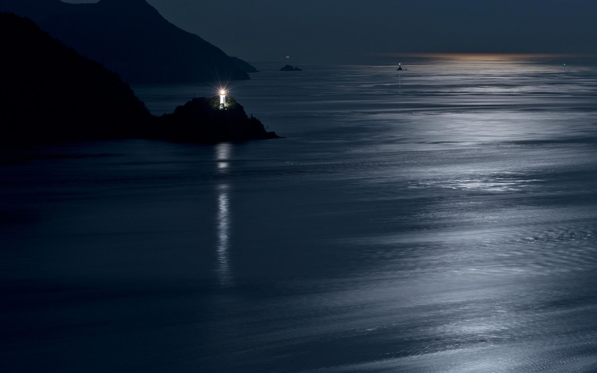 Lighthouse Coast night ocean sea reflection moon moonlight lights scenic  shore mood wallpaper     110720   WallpaperUP