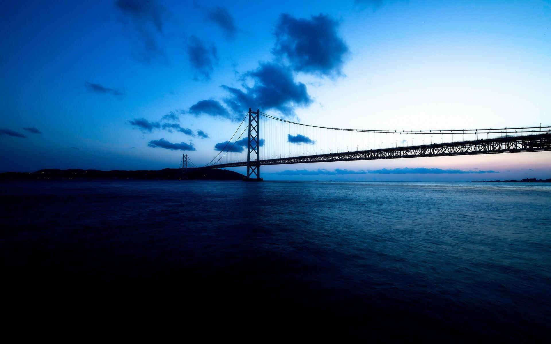 Bridge bridges ocean sea night sky clouds wallpaper     83128    WallpaperUP