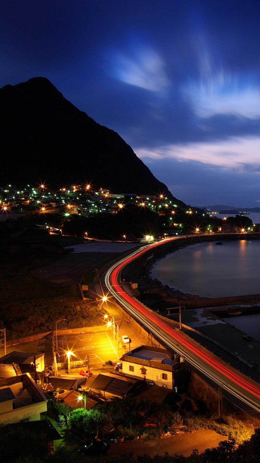Wallpaper night, hill, road, ocean, beach