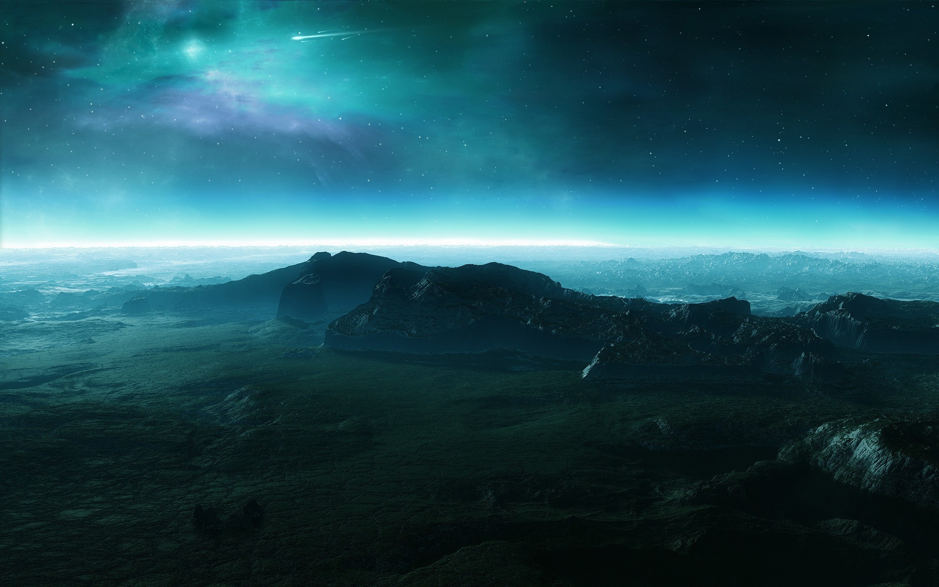 Download Night sky over the mountain Wallpaper