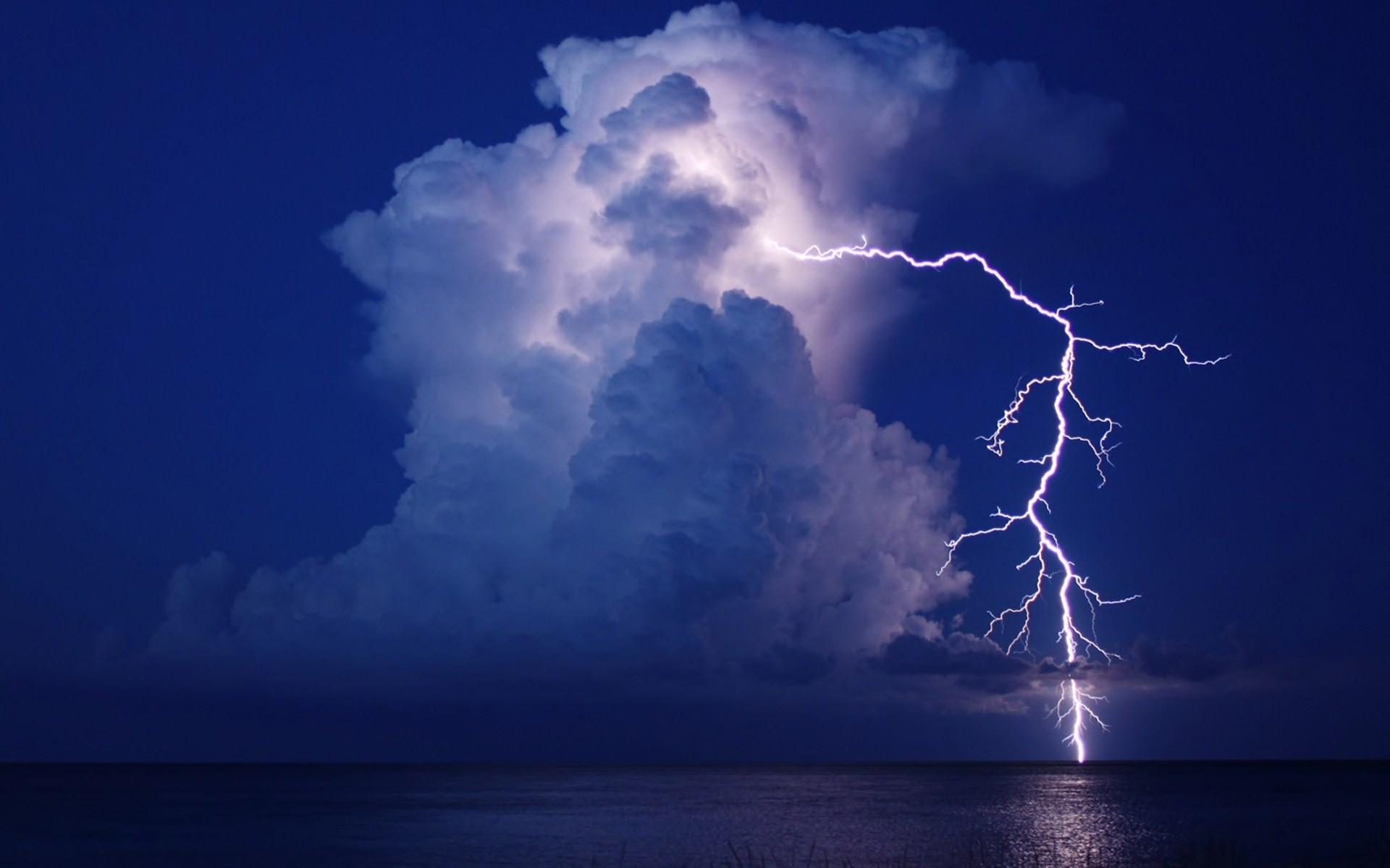 Lightning cloud night water storm reflection sea ocean f wallpaper      195281   WallpaperUP