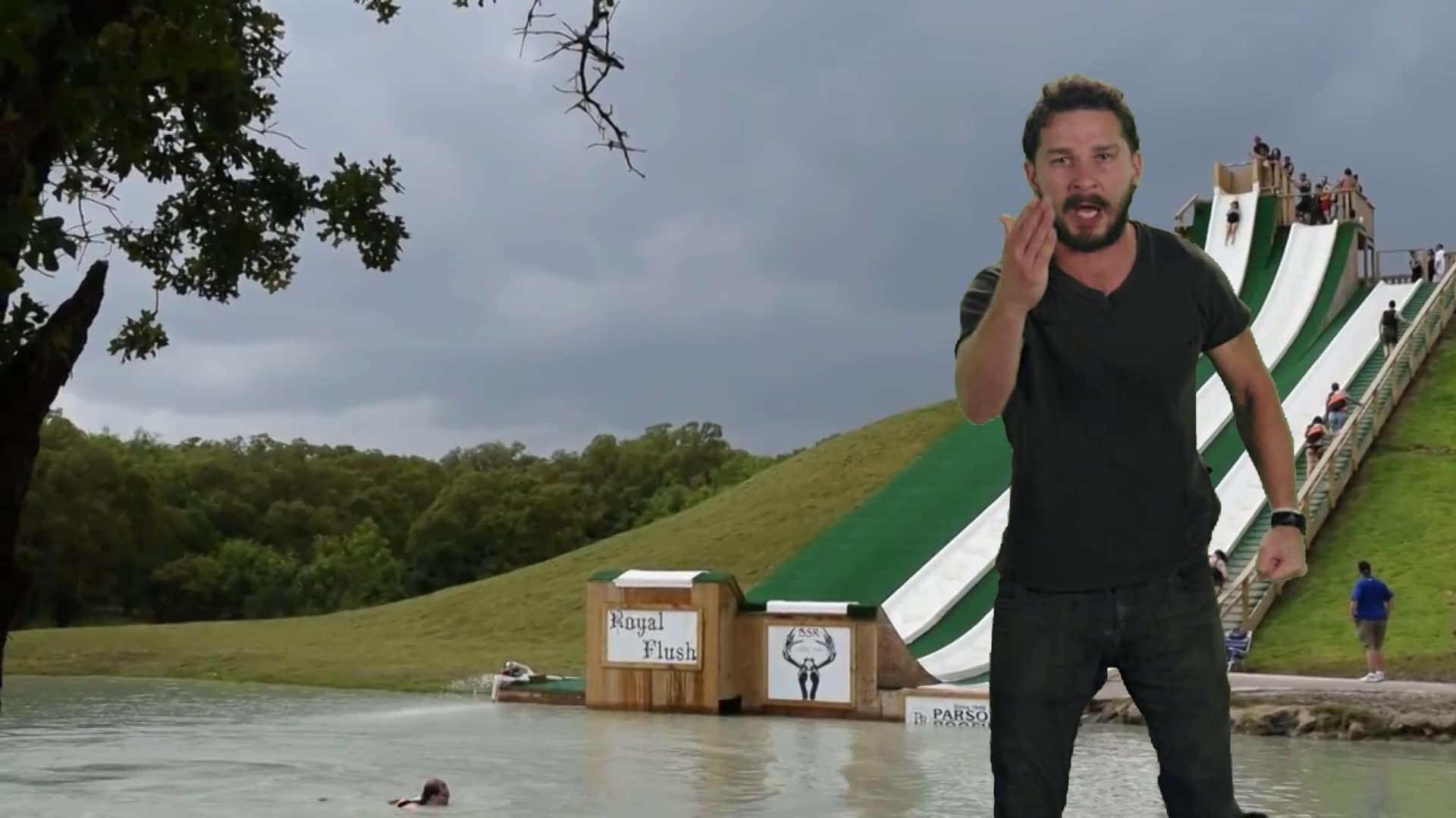 Shia LaBeouf JUST DO IT! Water Slide!