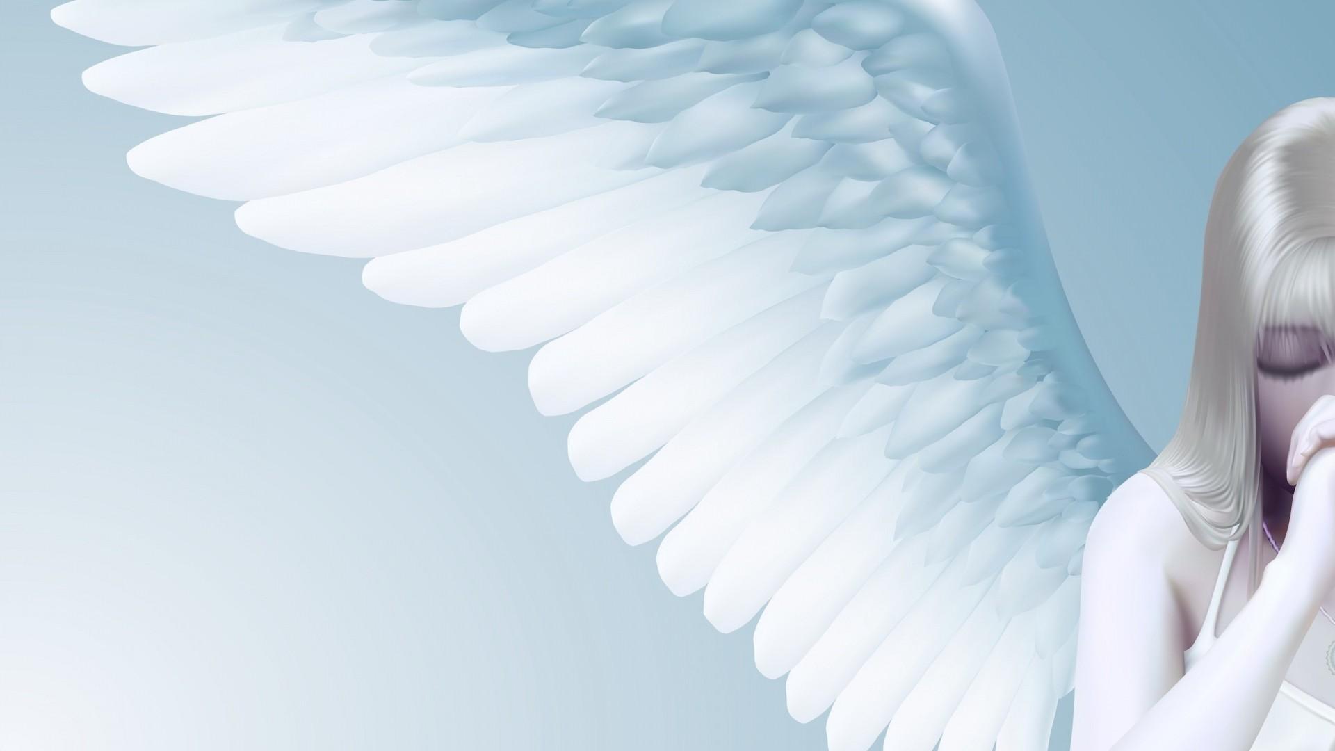Download Wallpaper Angel, Girl, Wings, Light Full HD 1080p HD  Background