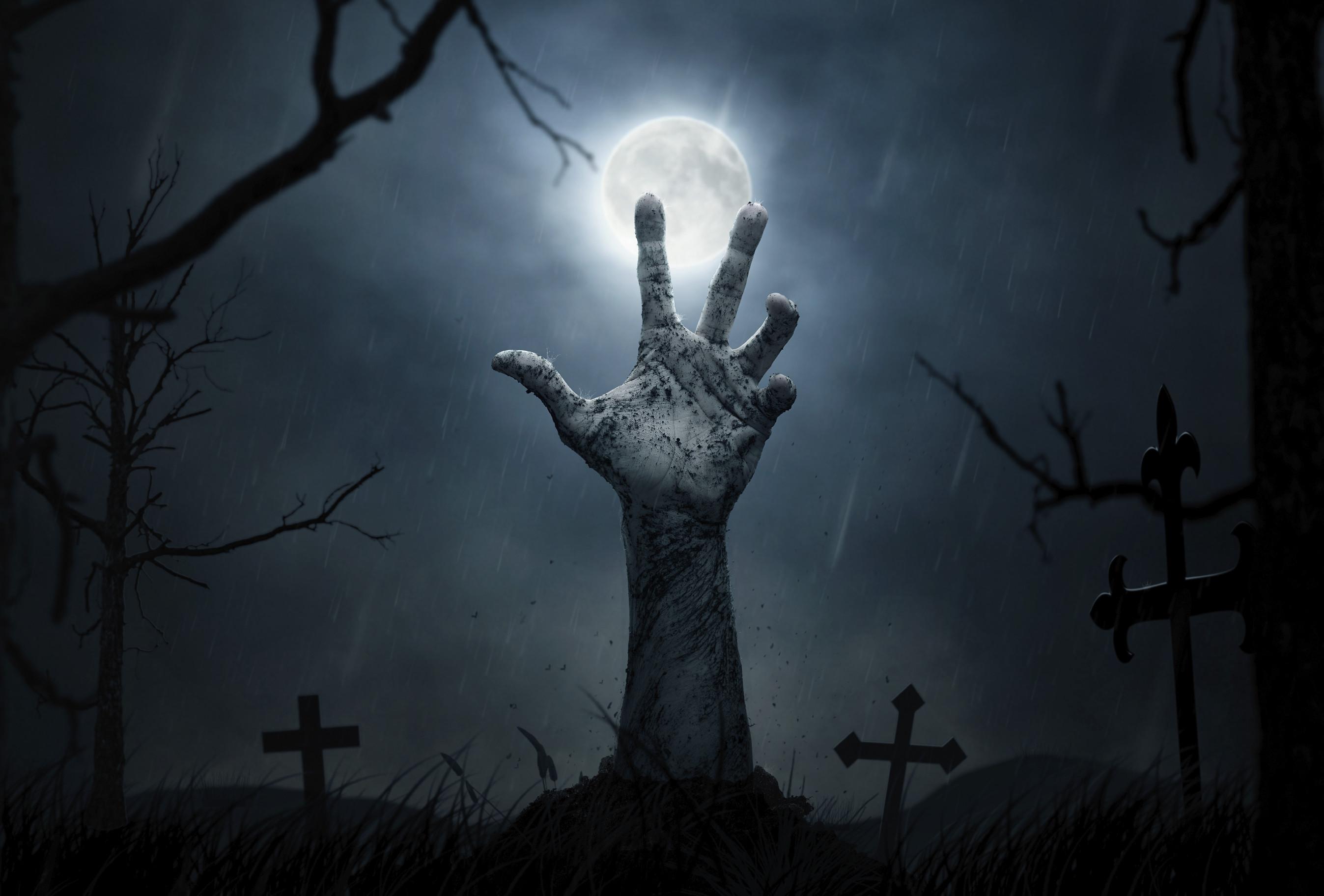 Dark – Hand Dark Grave Dirt Moon Tombstone Cross Wallpaper