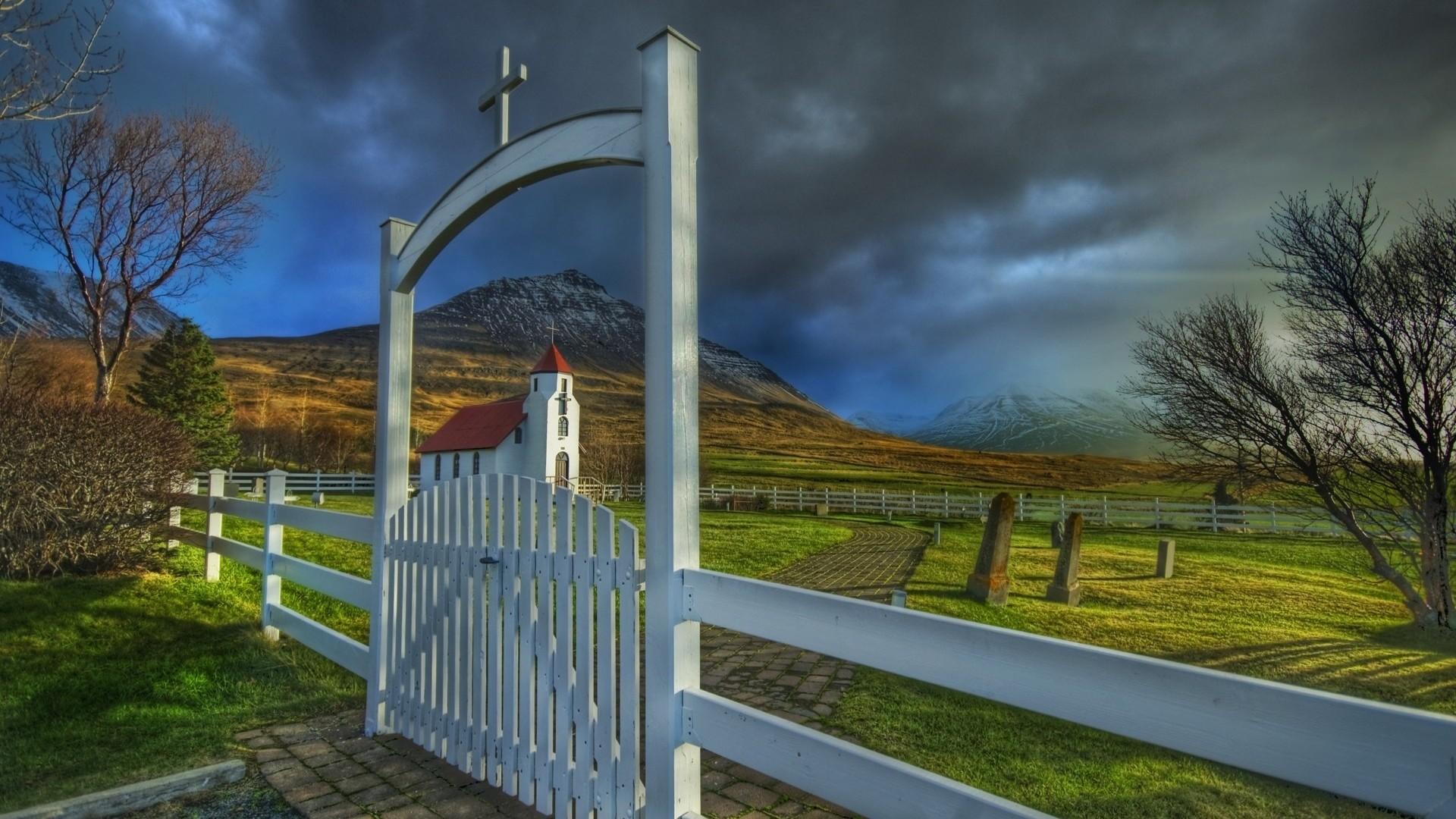 Wallpaper temple, gate, graves, fence, cross