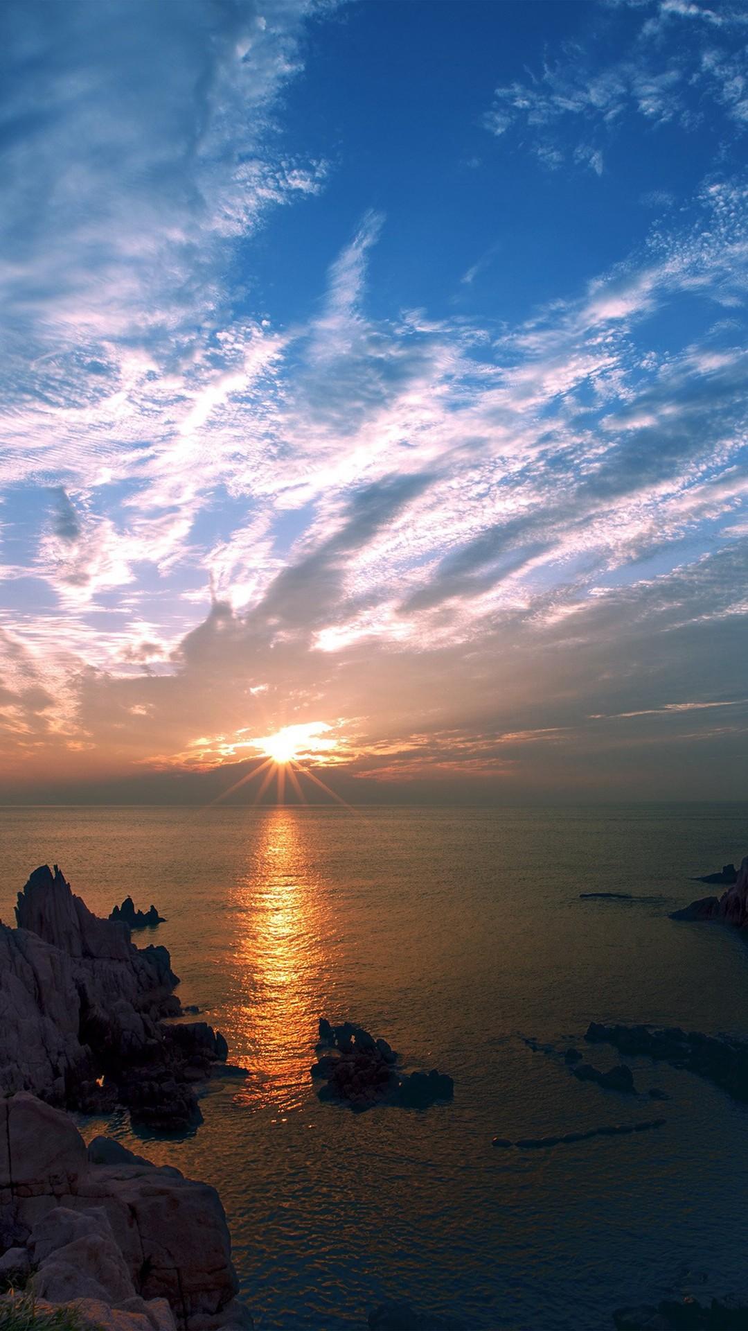 Sunset Sky Cloud Sea Rock Bridge Nature iPhone 6 wallpaper