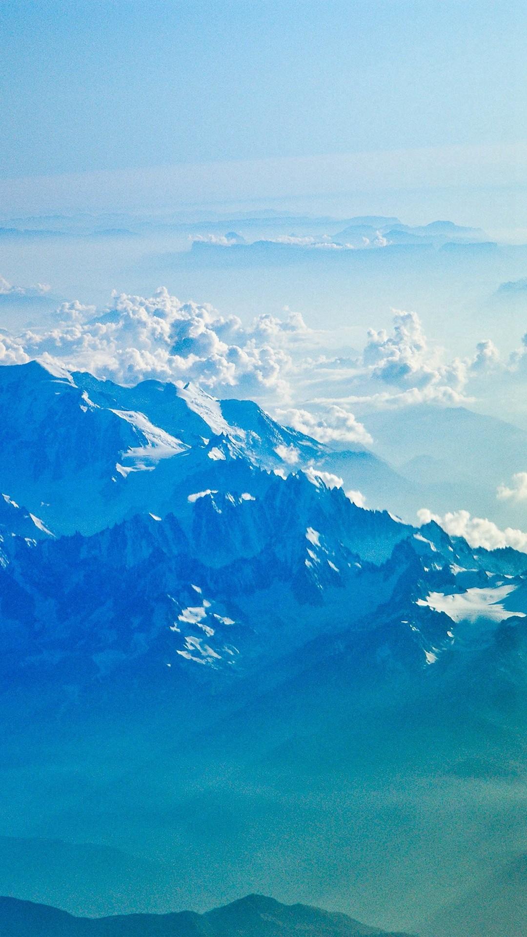 Mountain Snow Winter Blue White Nature Cloud #iPhone #7 #wallpaper