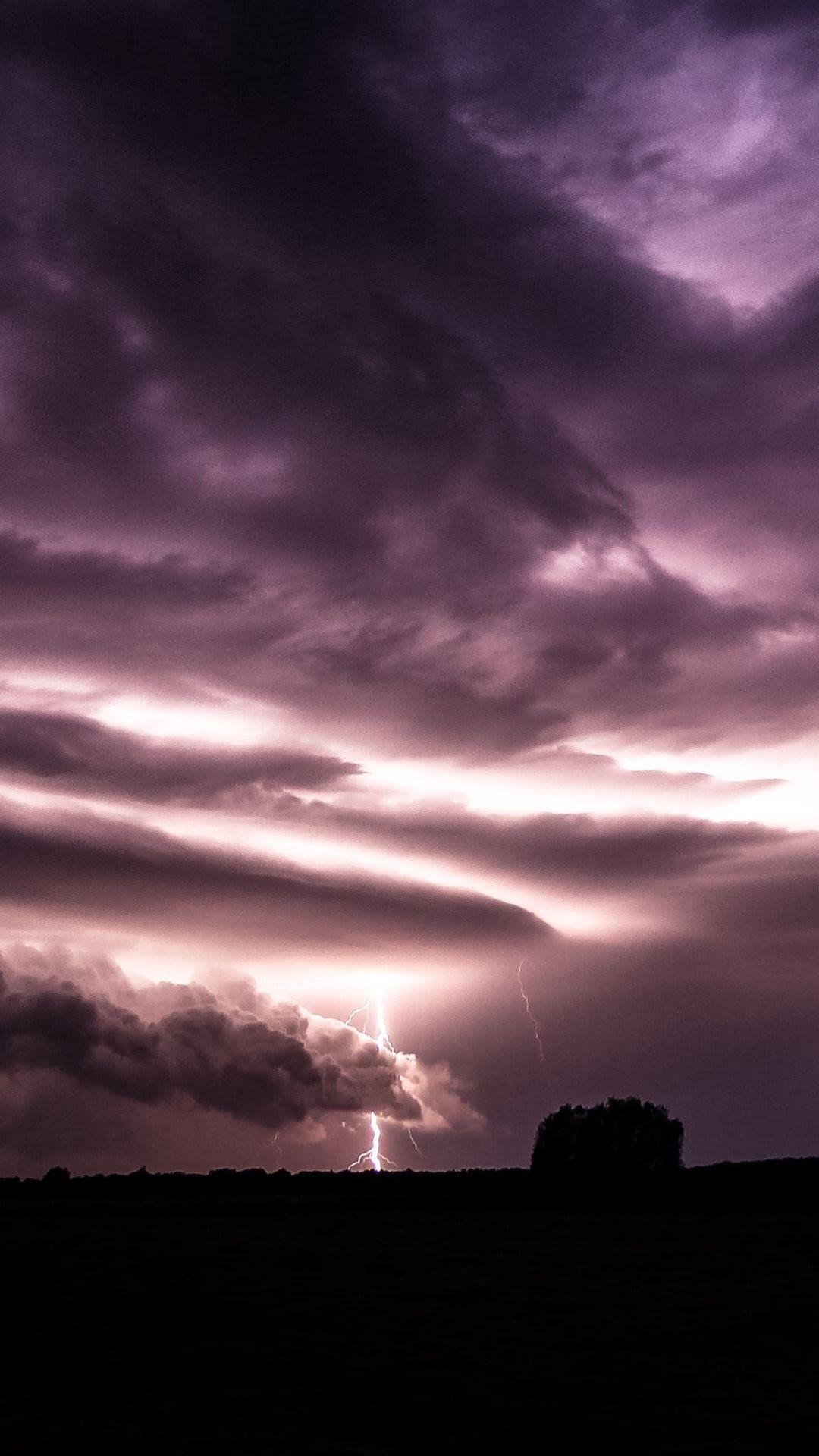 Purple Clouds Lightning Over Field #iPhone #6 #plus #wallpaper