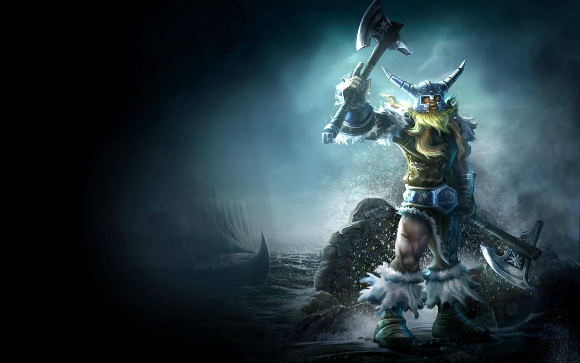 League of Legends fantasy art warriors weapons axe vikings ships boats  wallpaper background