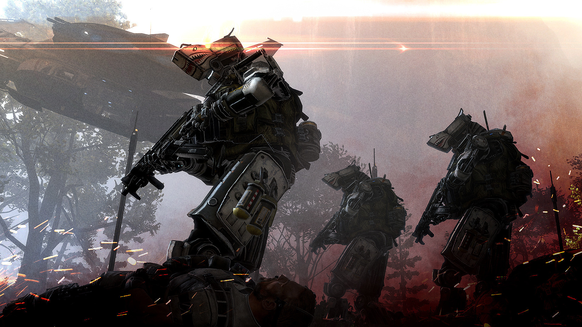 Viking Warriors Wallpaper · A concept by Brad Allen, showing a squad of IMC  Spectres on patrol. Good
