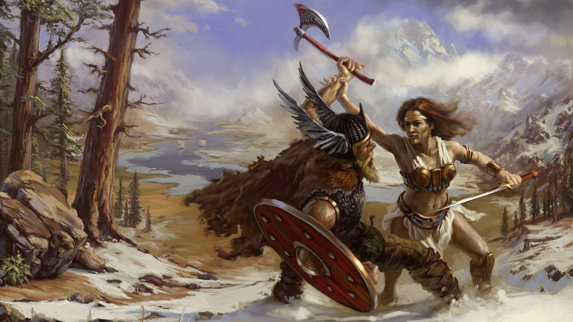 viking axe helmet shield girl warrior fury battle nature