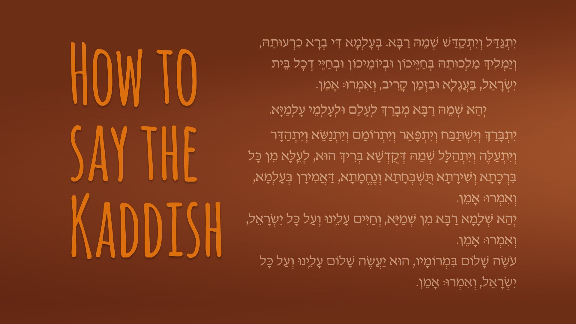 Kaddish, a Memorial Prayer in Praise of God