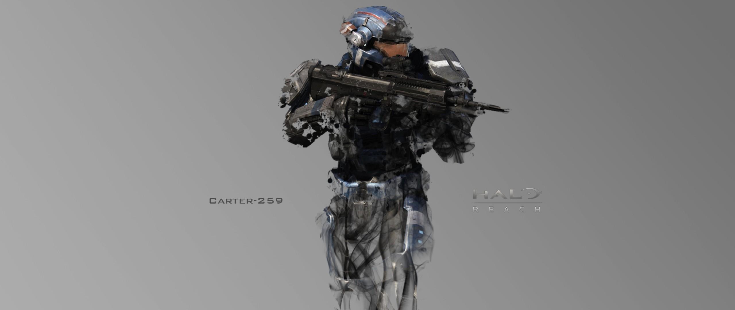 Preview wallpaper halo, soldier, gun, carter-259 2560×1080