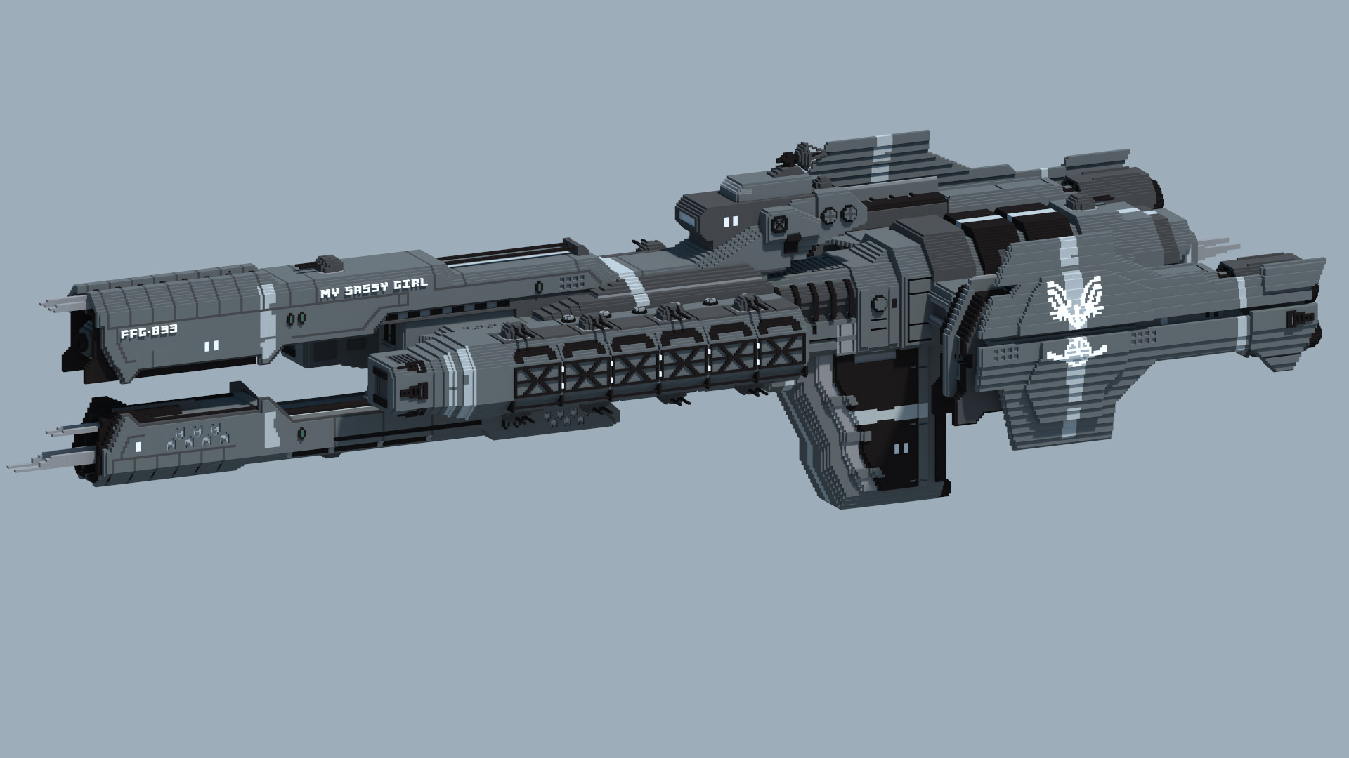 I made a UNSC Frigate from Halo in Minecraft