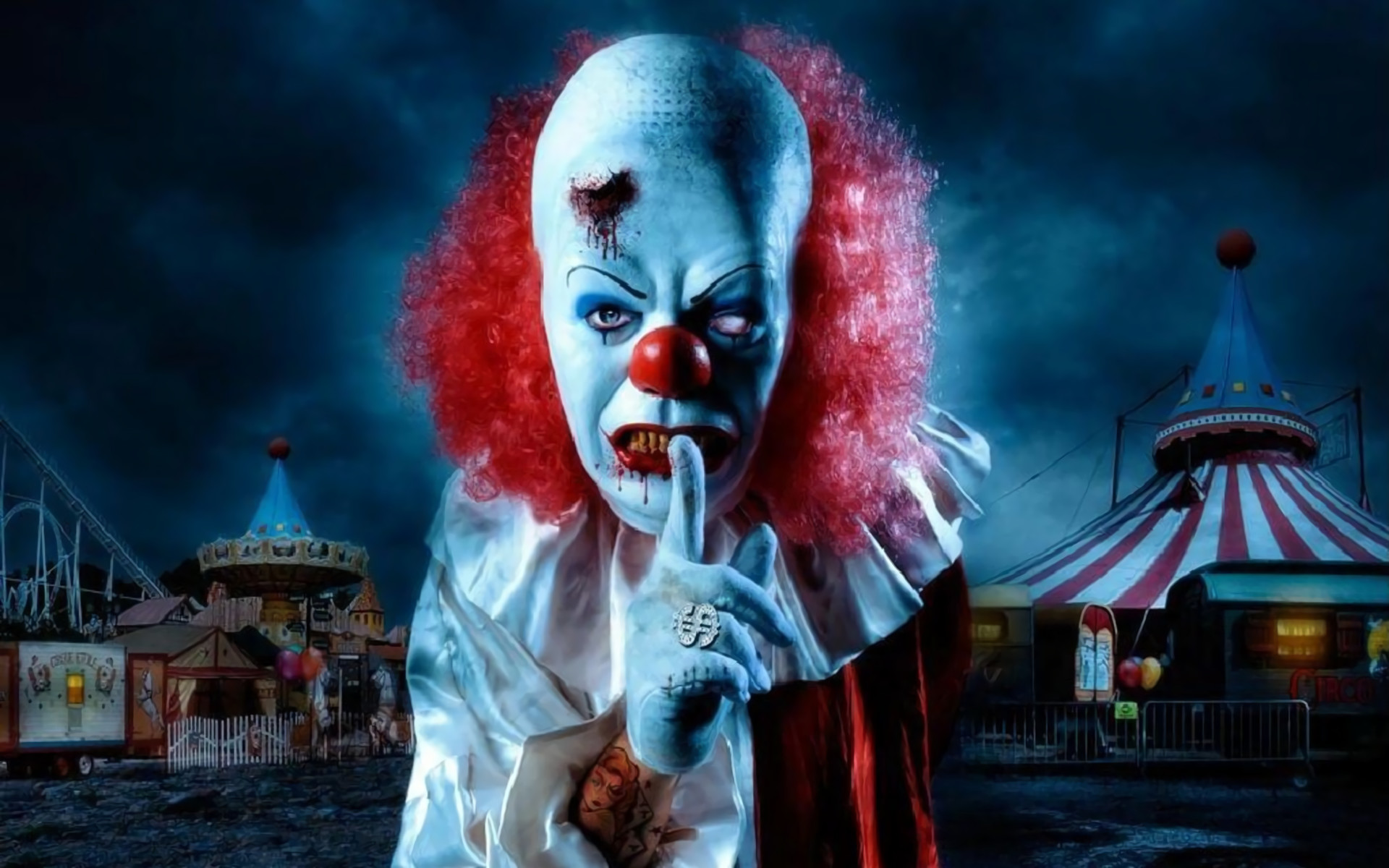 Dark – Clown Dark Evil Creepy Blood Circus Wallpaper