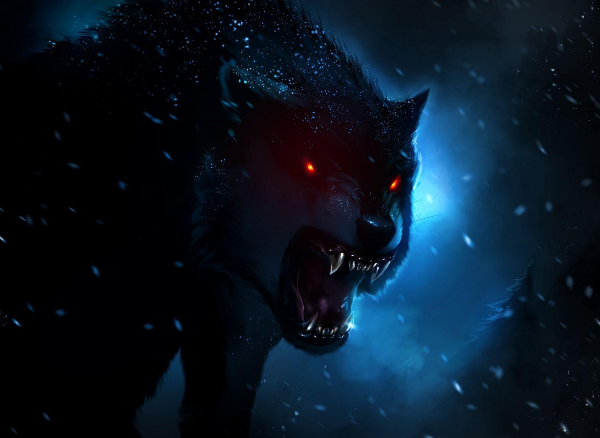 evil hunter dark night art wolf