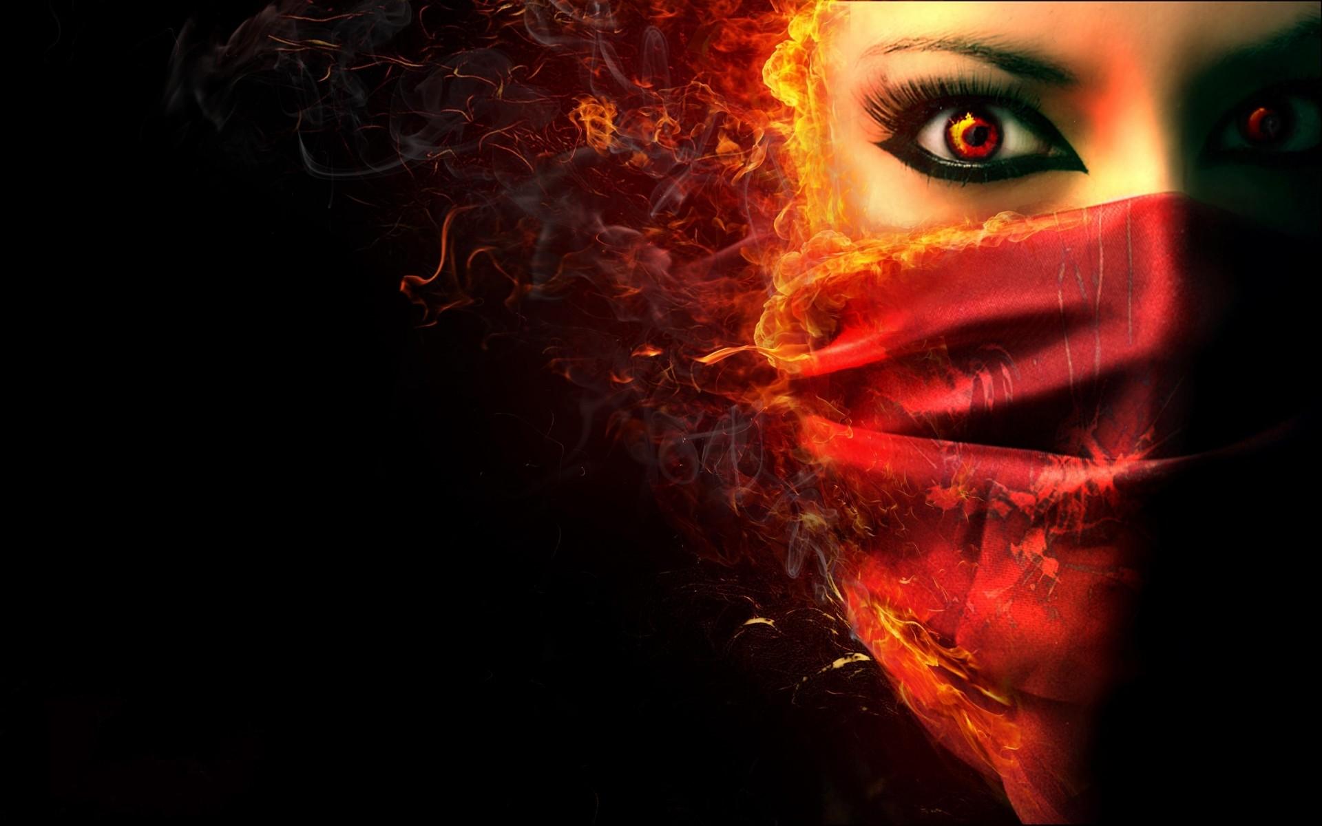 Fantasy dark horror face demon evil women wallpaper   .