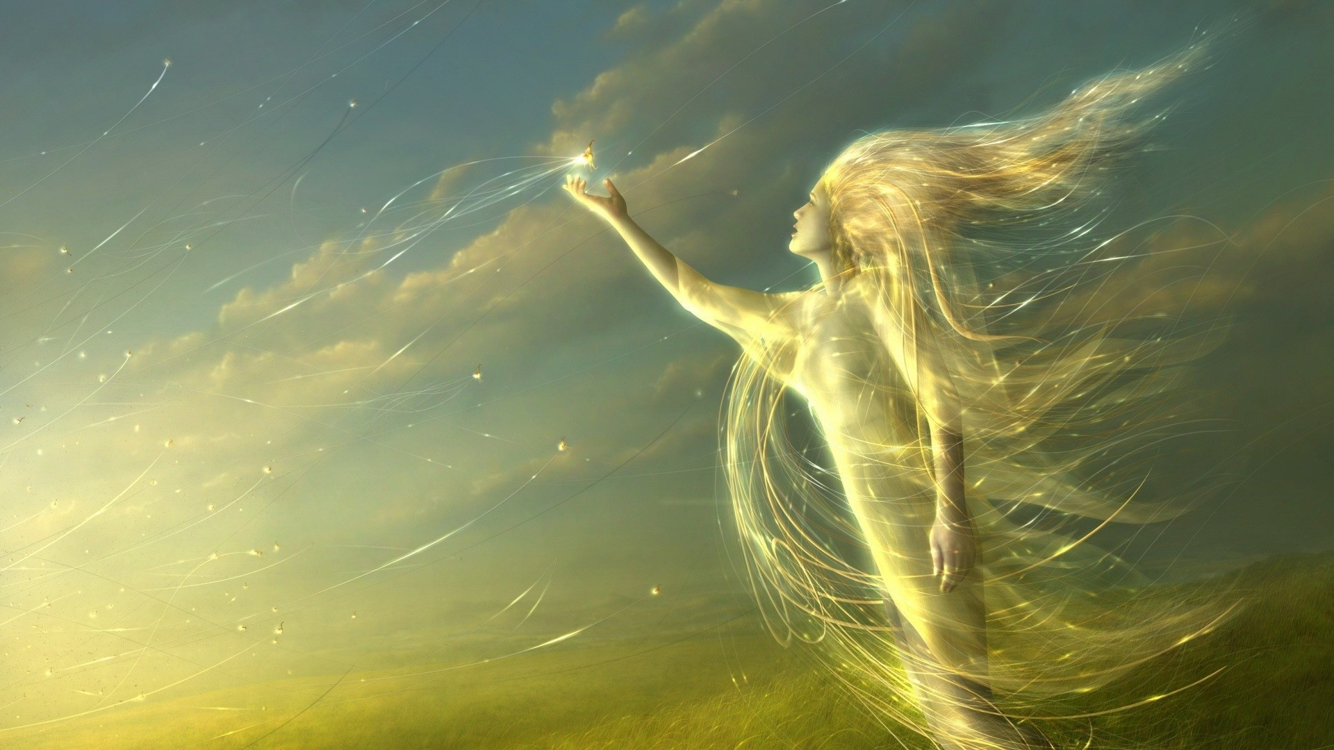 Preview wallpaper angel, light, field 1920×1080