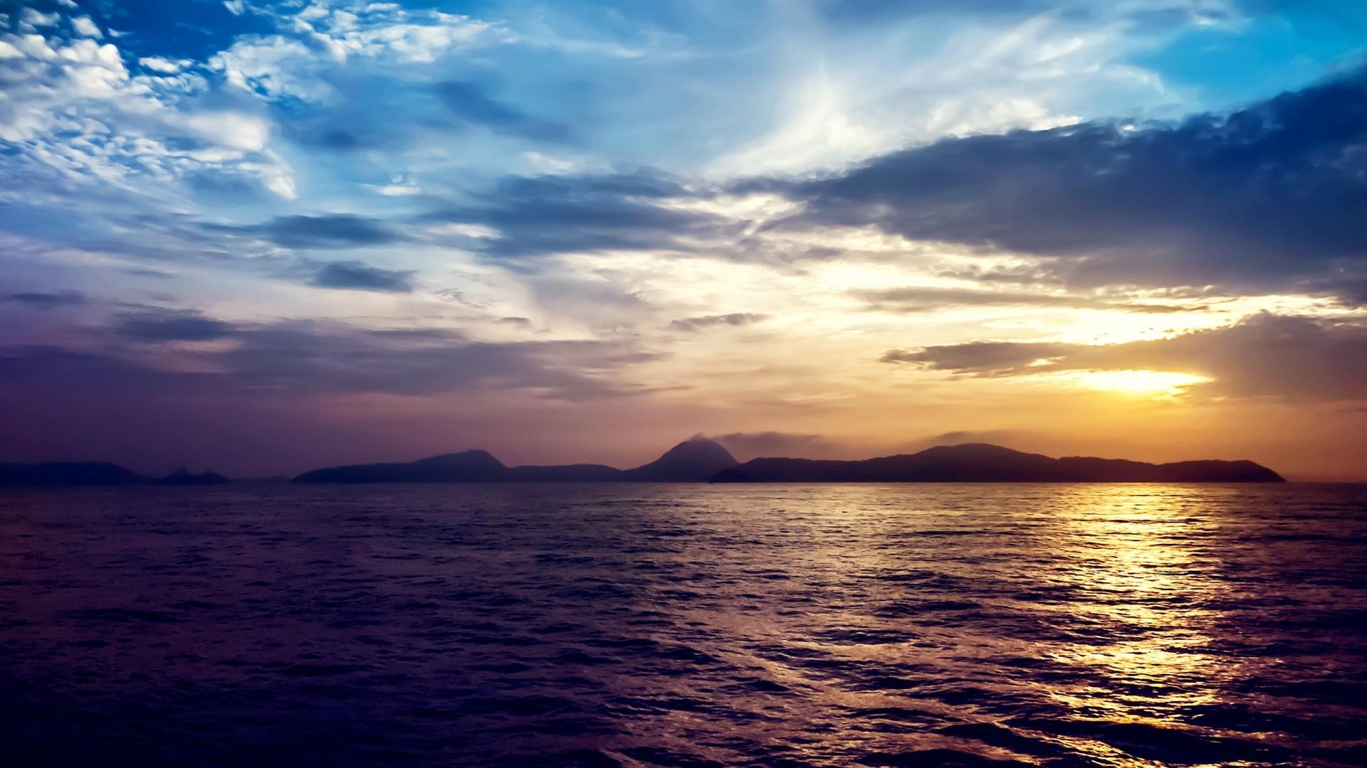 Preview wallpaper sea, sunset, rocks 1920×1080