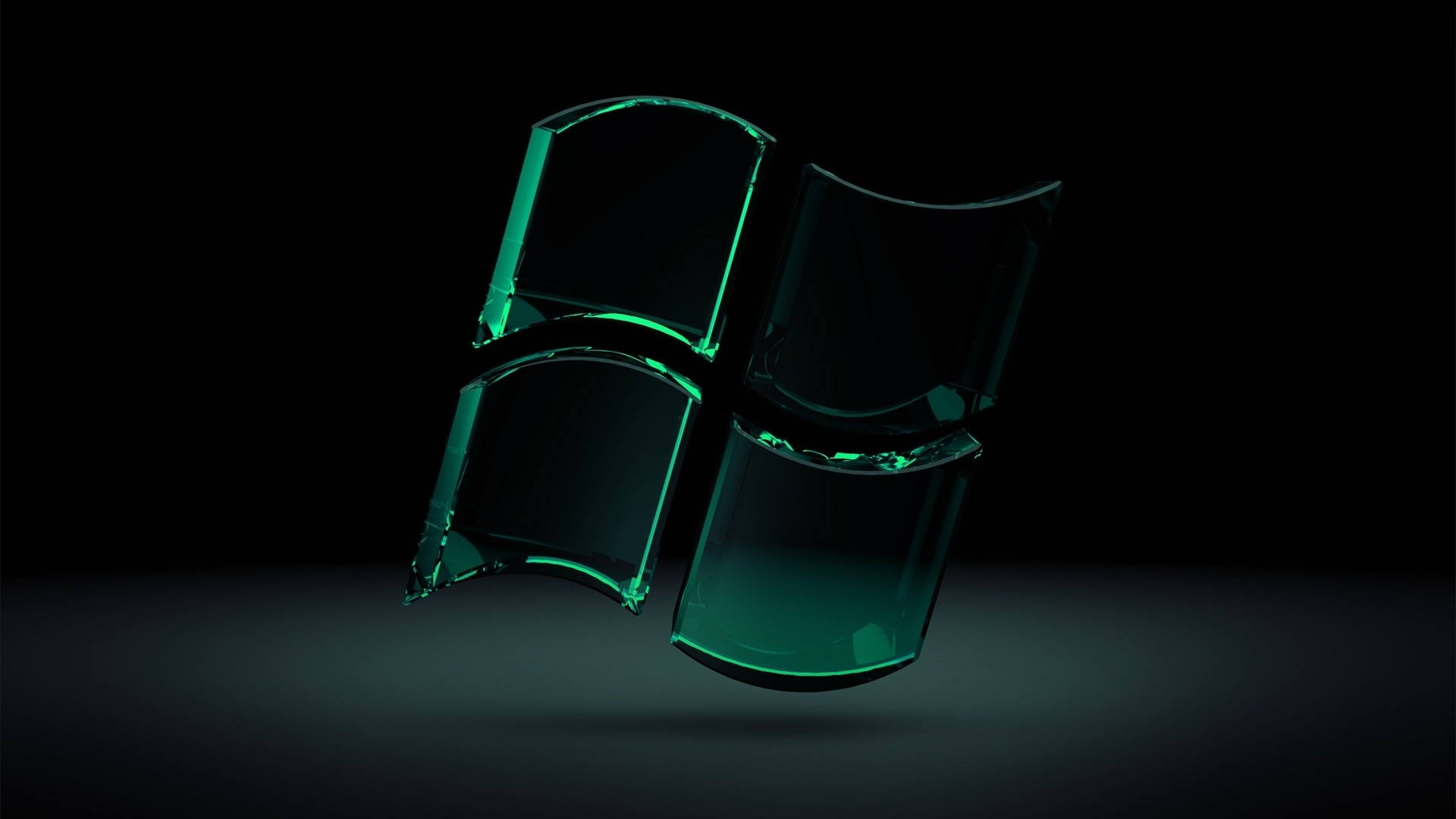 Preview wallpaper windows, green, black, glass 1920×1080