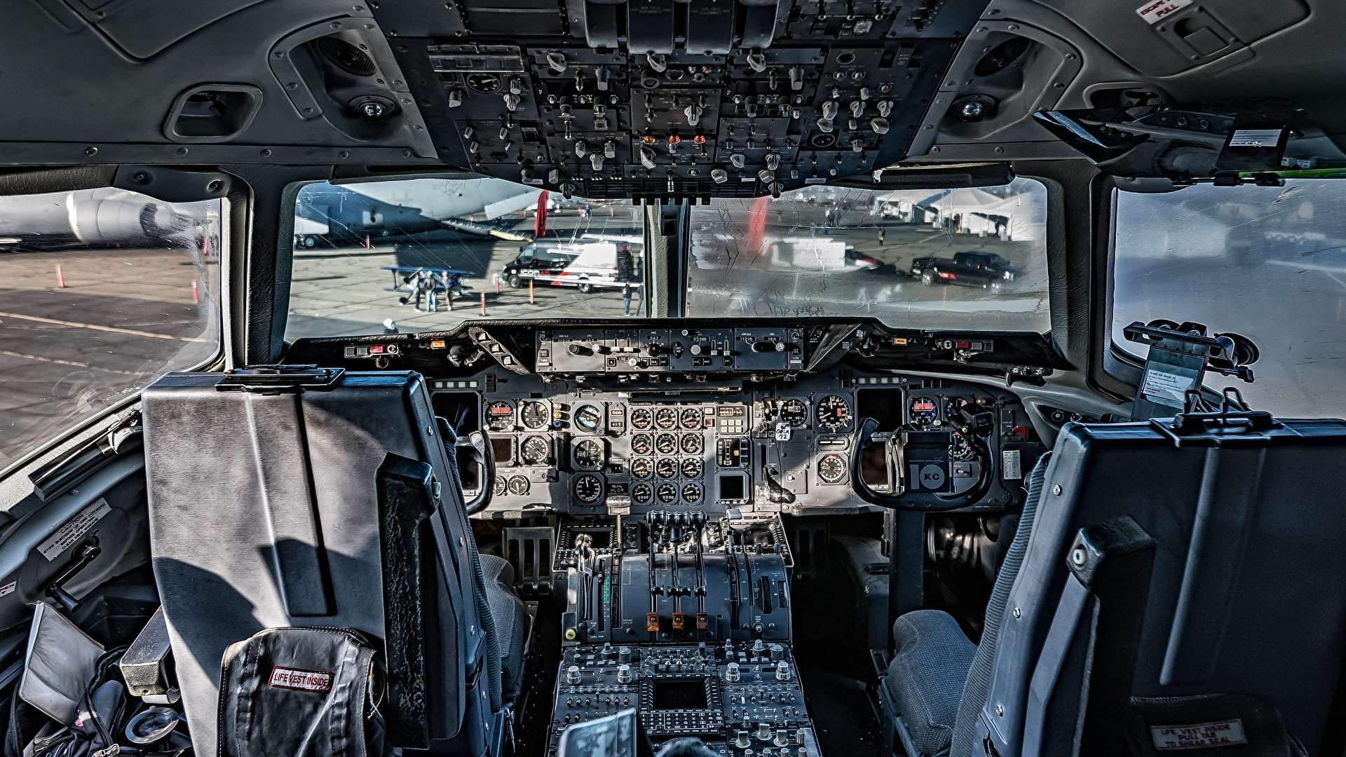 Picture Airplane Cockpit KC 135 Stratotanker Aviation 1920×1080