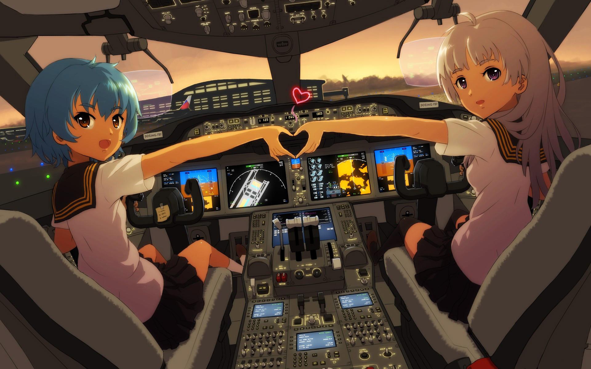 Aircraft Anime Girls Cockpit