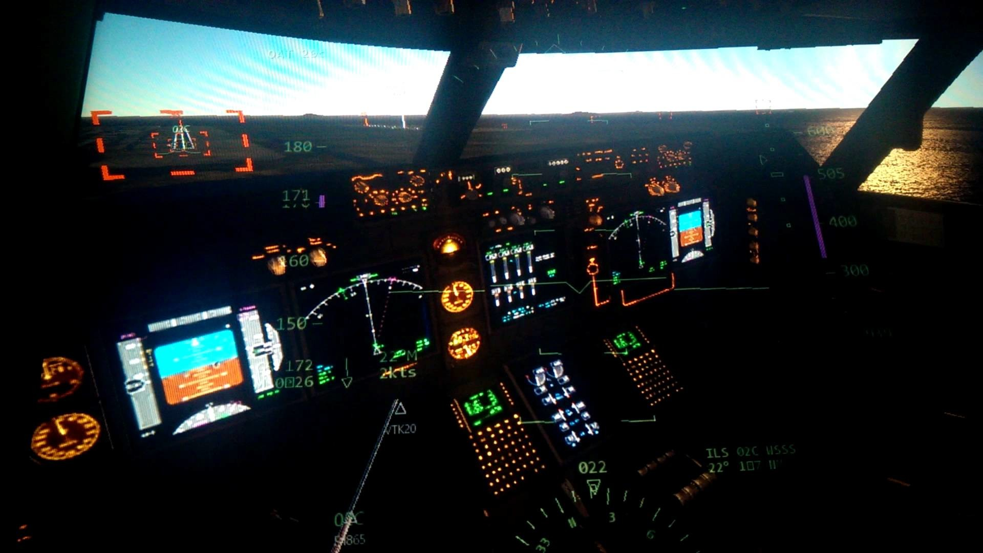 Cockpit Thai Airways Boeing 747 8 Landing At Mallorca You. Boeing 747 Cockpit  Wallpaper